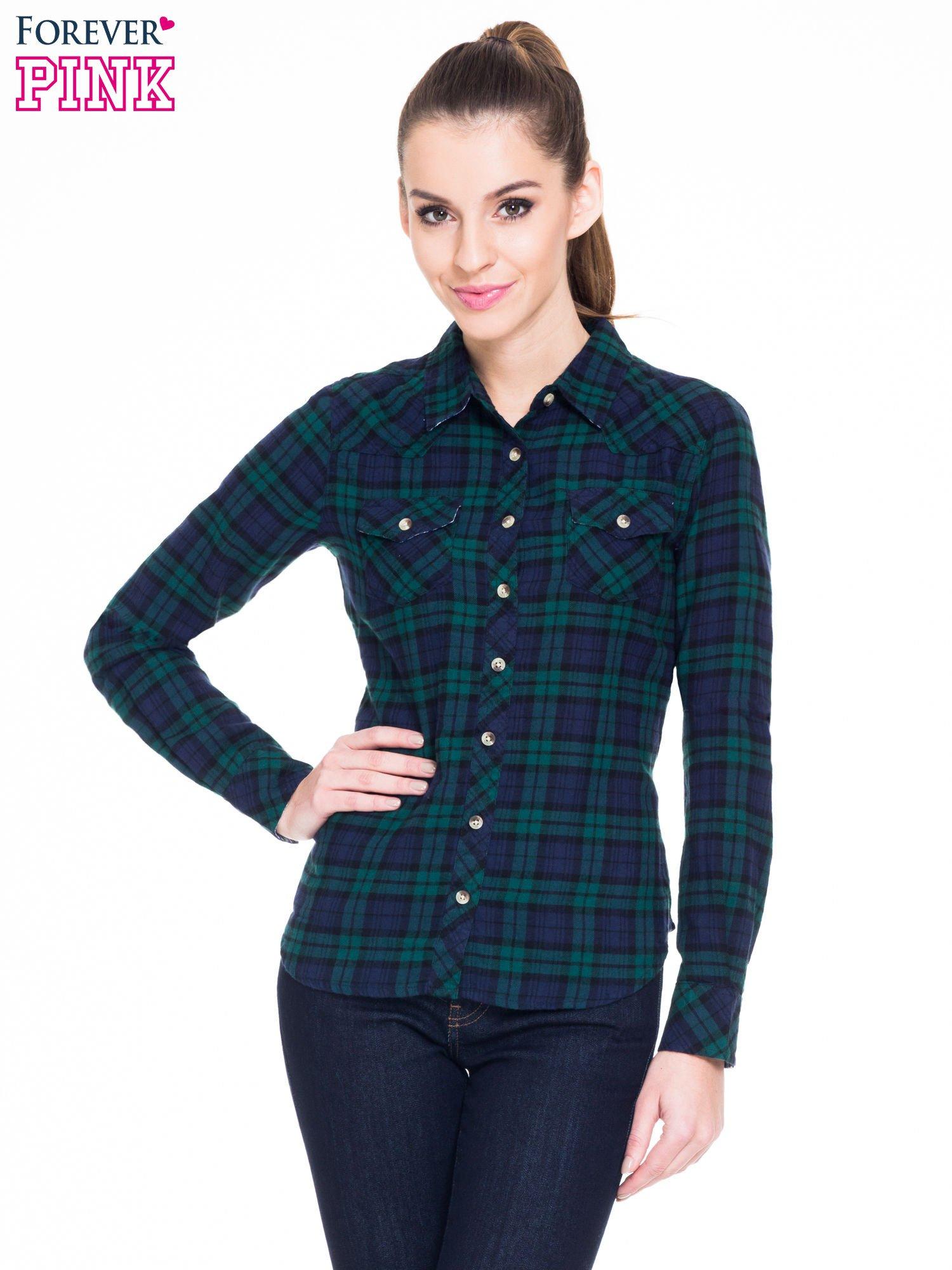 Zielono-granatowa koszula w kratę z kieszonkami                                  zdj.                                  1
