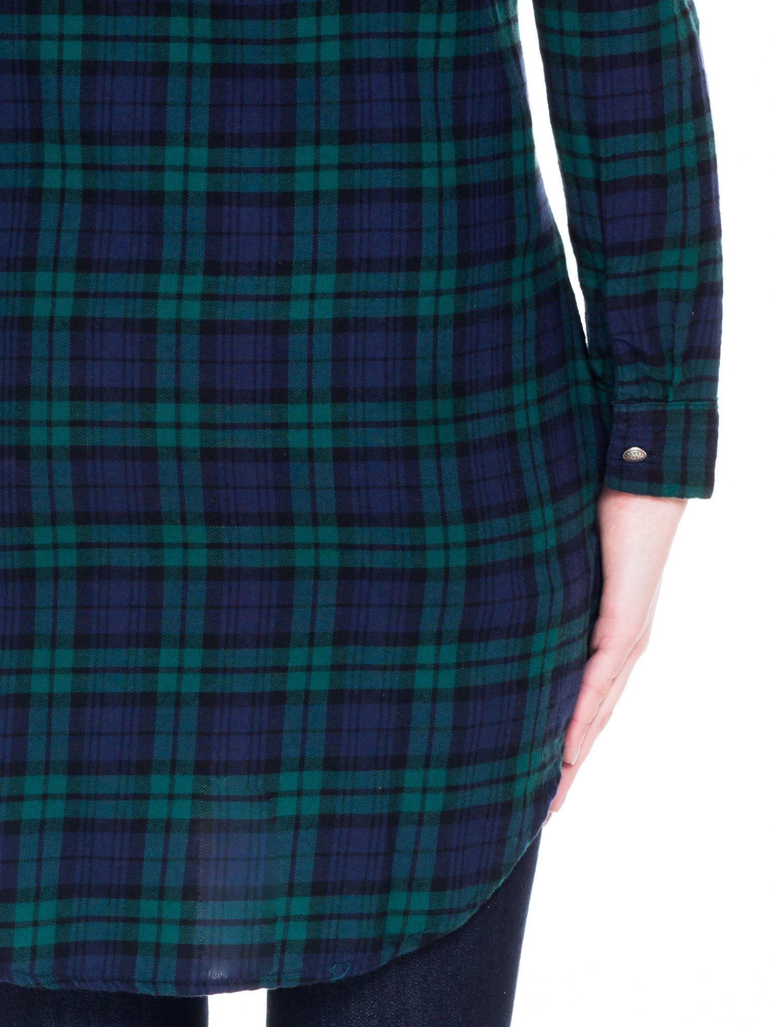 Zielono-granatowa koszulotunika w kratę                                  zdj.                                  8