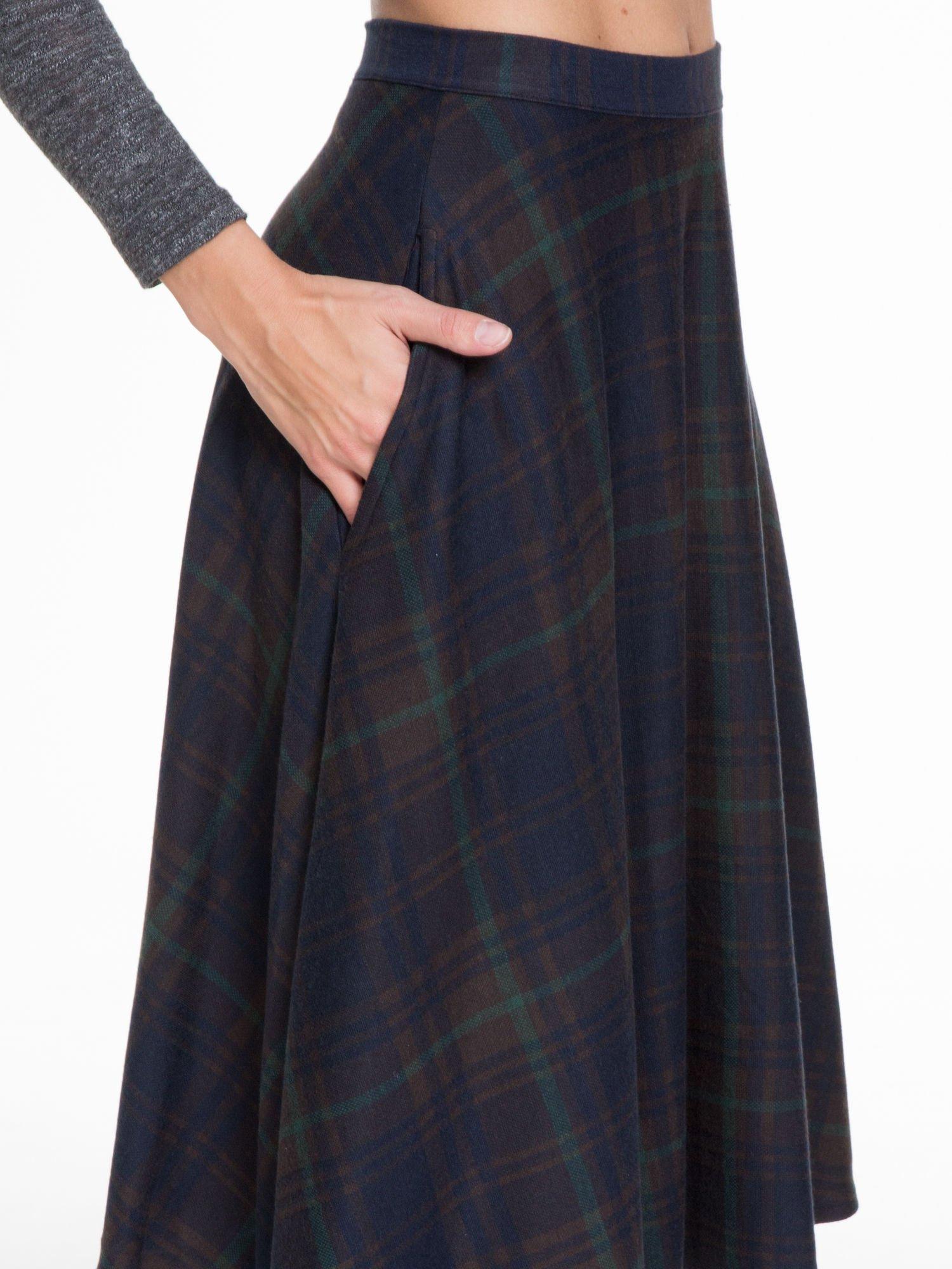 Zielono-granatowa kraciasta spódnica midi szyta z półkola                                  zdj.                                  5