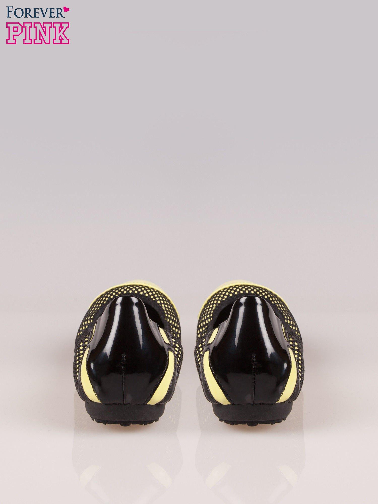 Zielonożółte siateczkowe baleriny faux leather Selena na gumkę                                  zdj.                                  3