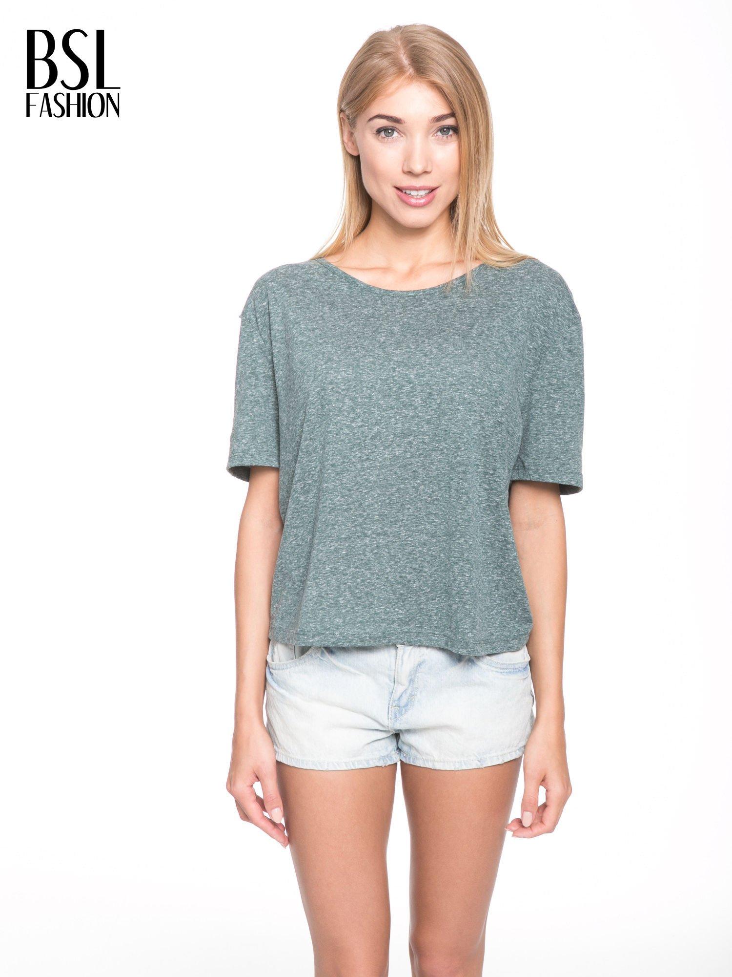 Zielony melanżowy t-shirt o luźnym kroju                                  zdj.                                  1