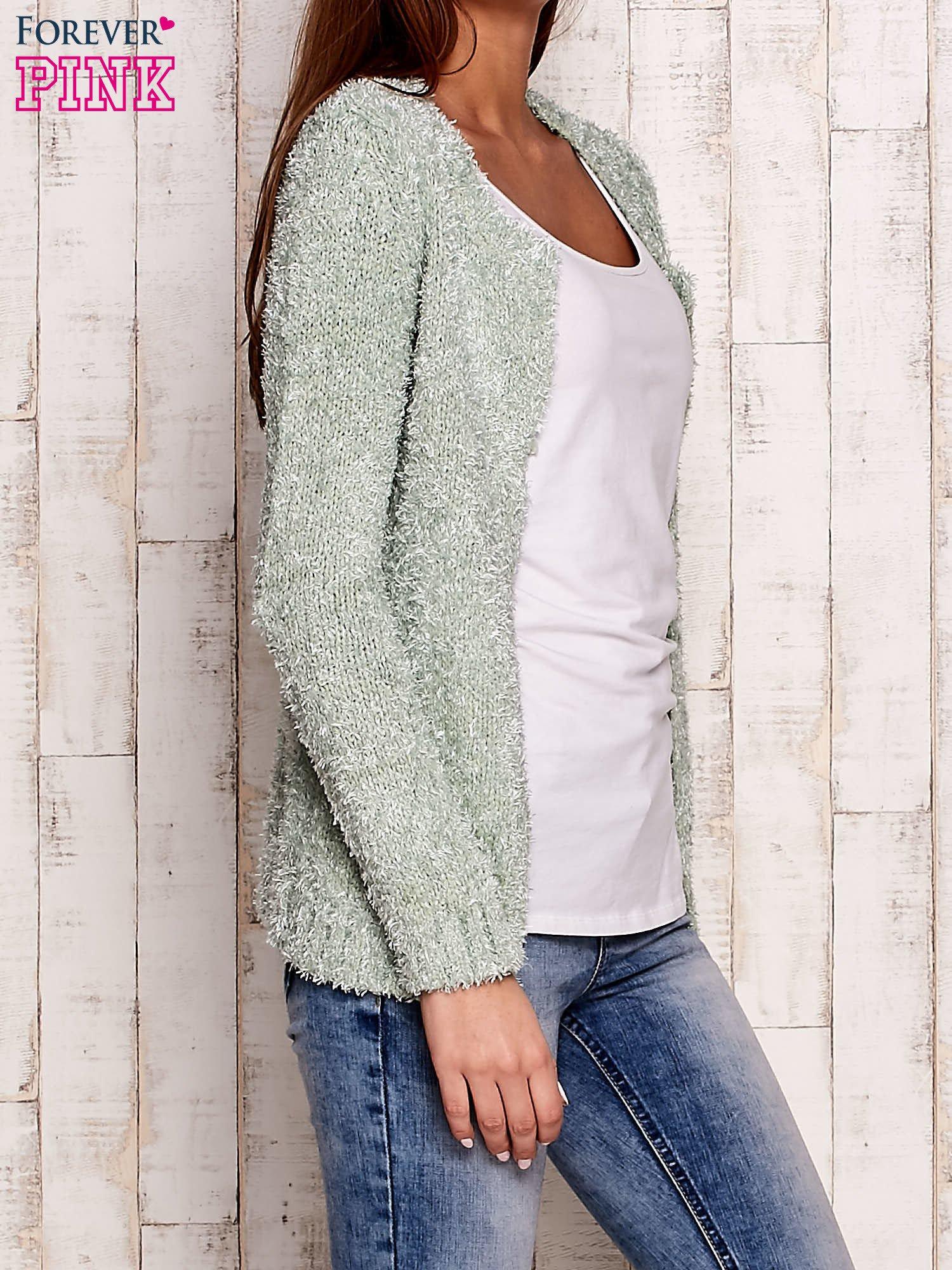 Zielony otwarty włochaty sweter                                   zdj.                                  1