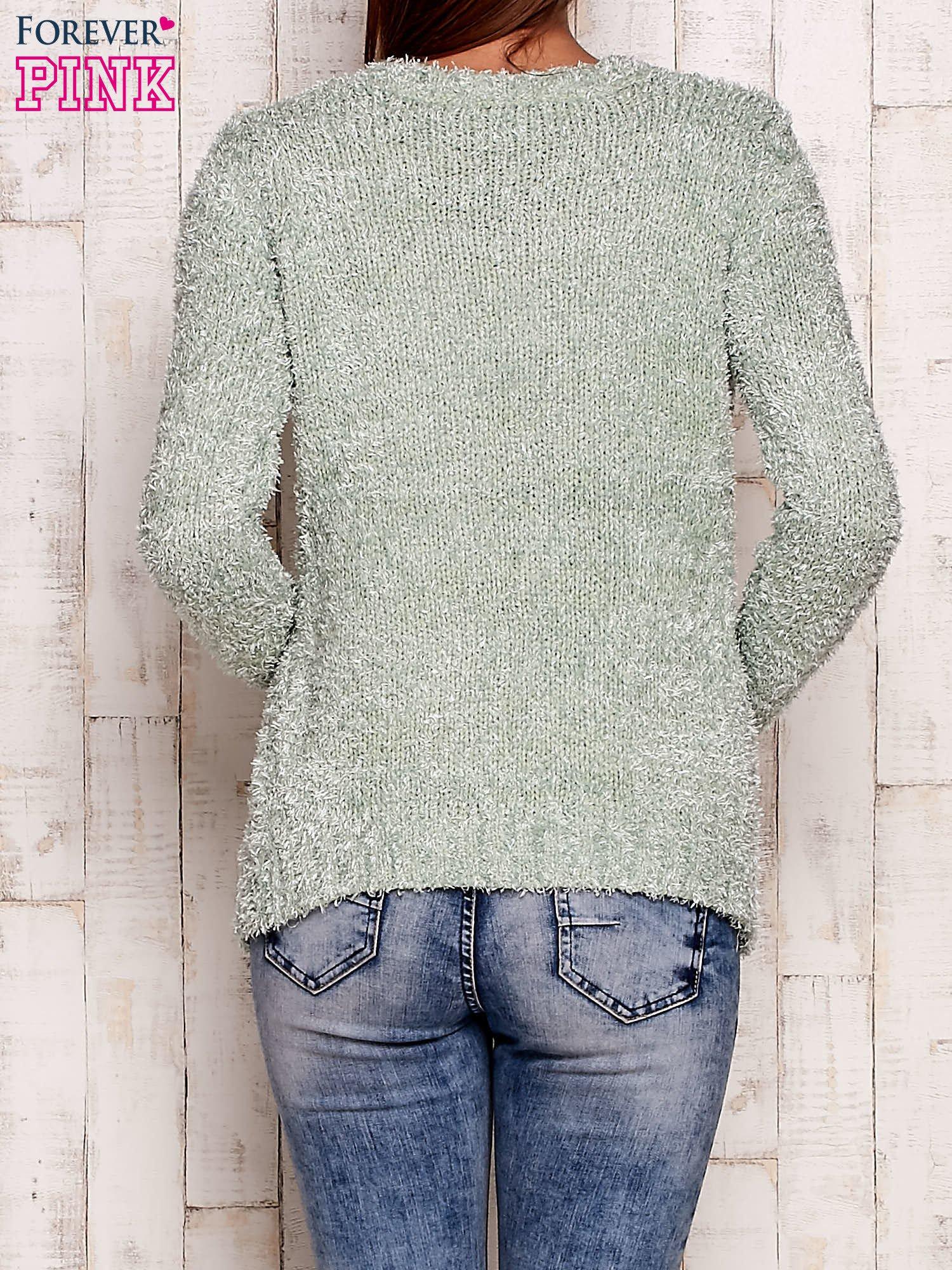 Zielony otwarty włochaty sweter                                   zdj.                                  3
