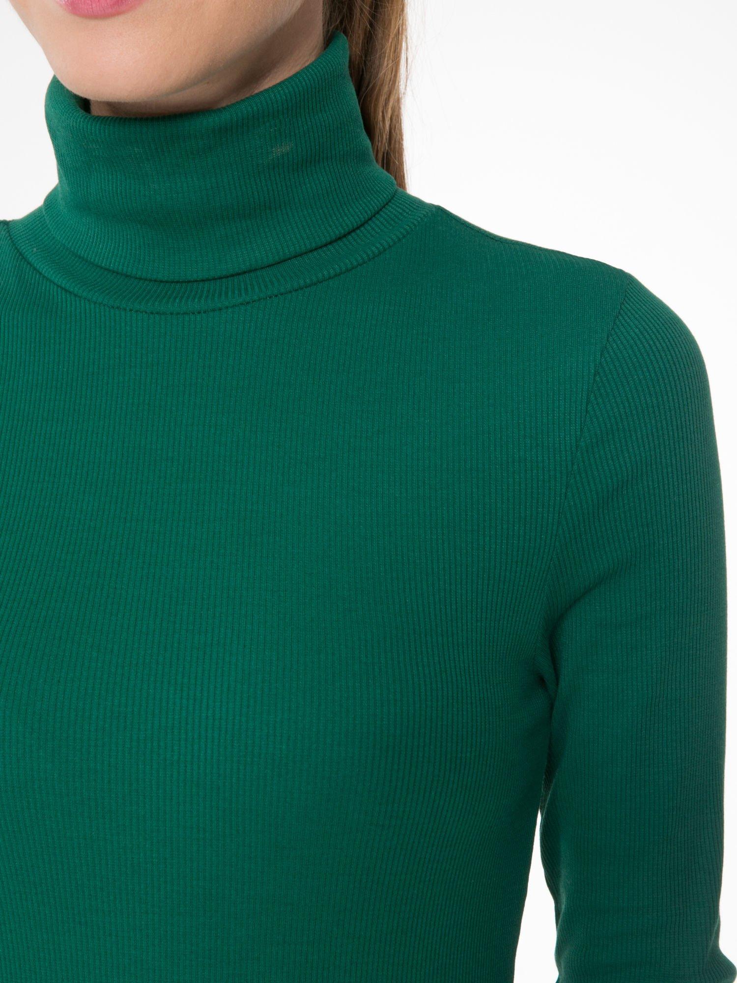 Zielony prążkowany golf damski                                  zdj.                                  5