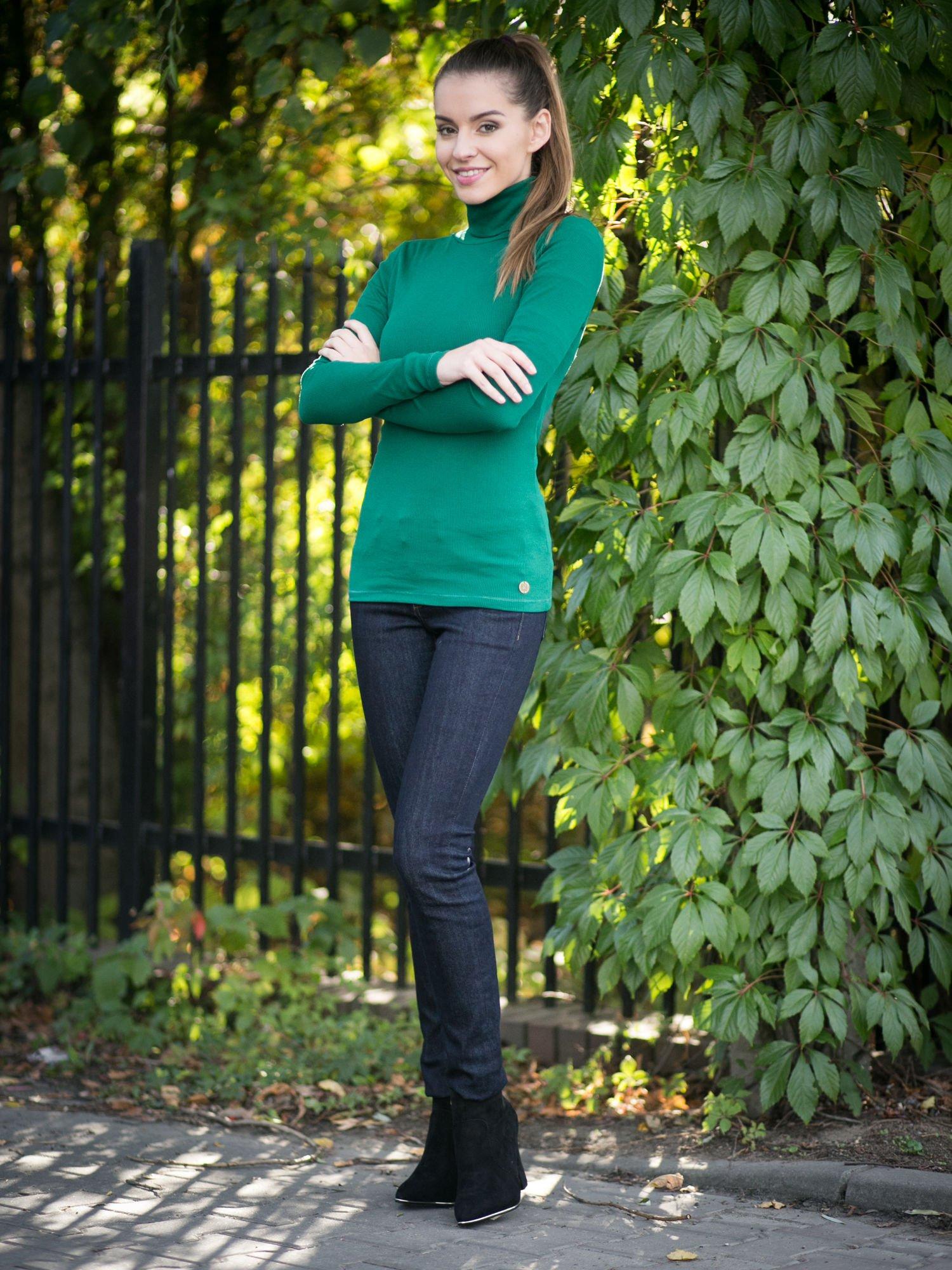 Zielony prążkowany golf damski                                  zdj.                                  9