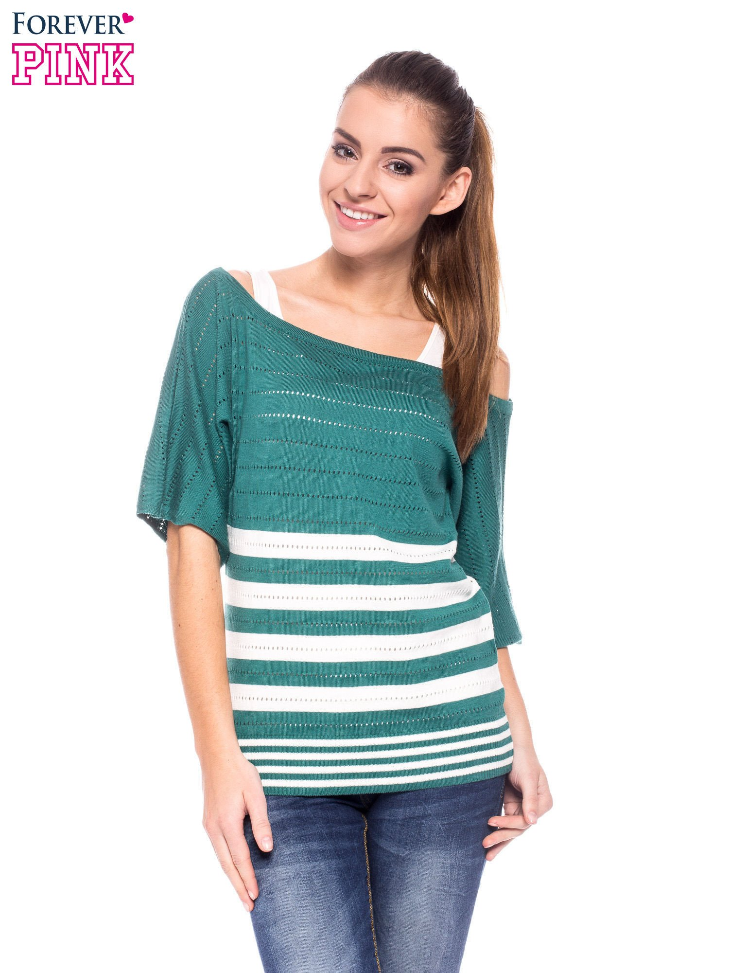 Zielony sweter w paski z szerokim dekoltem                                  zdj.                                  1