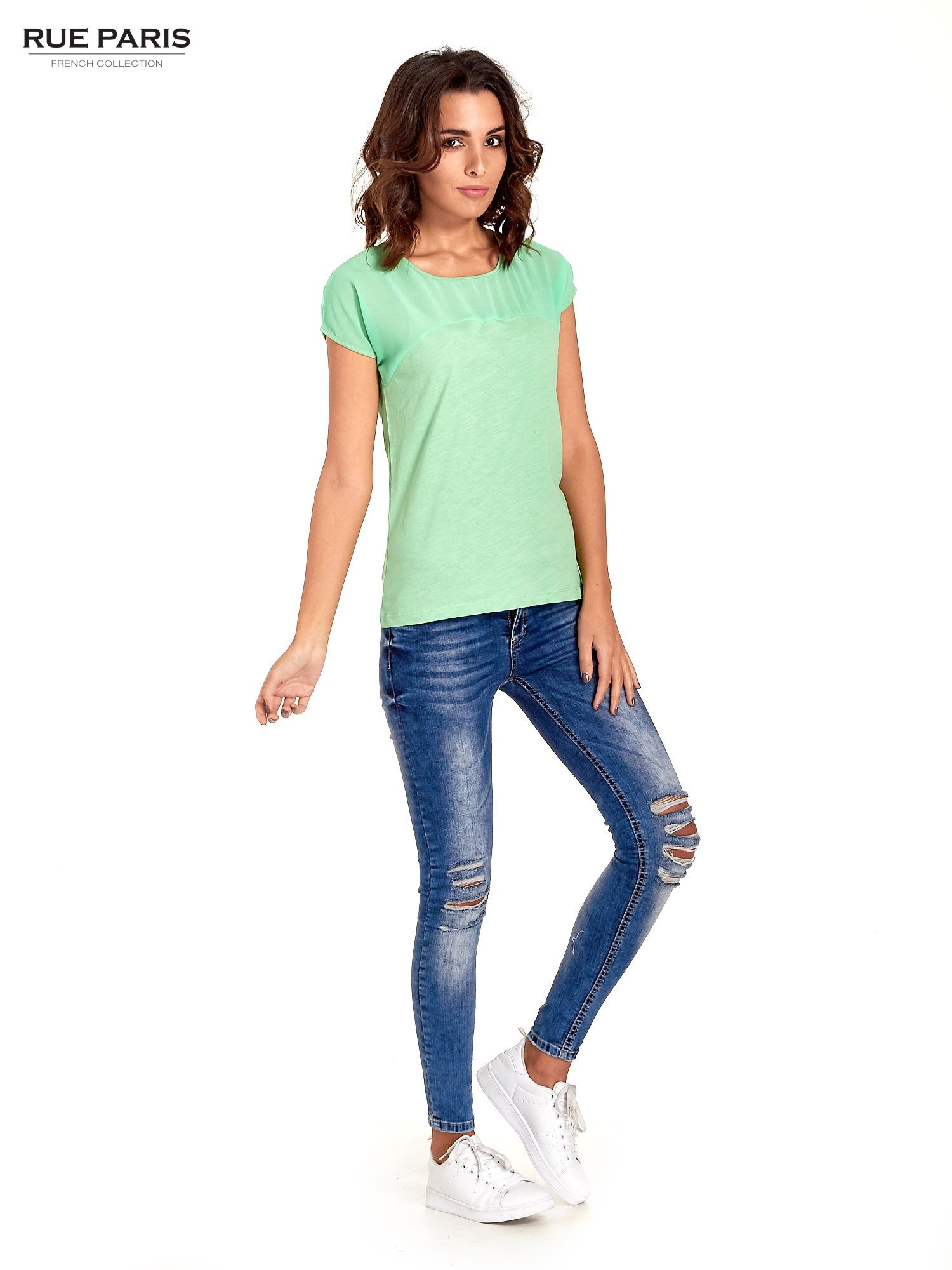 Zielony t-shirt z górą mgiełką                                  zdj.                                  5