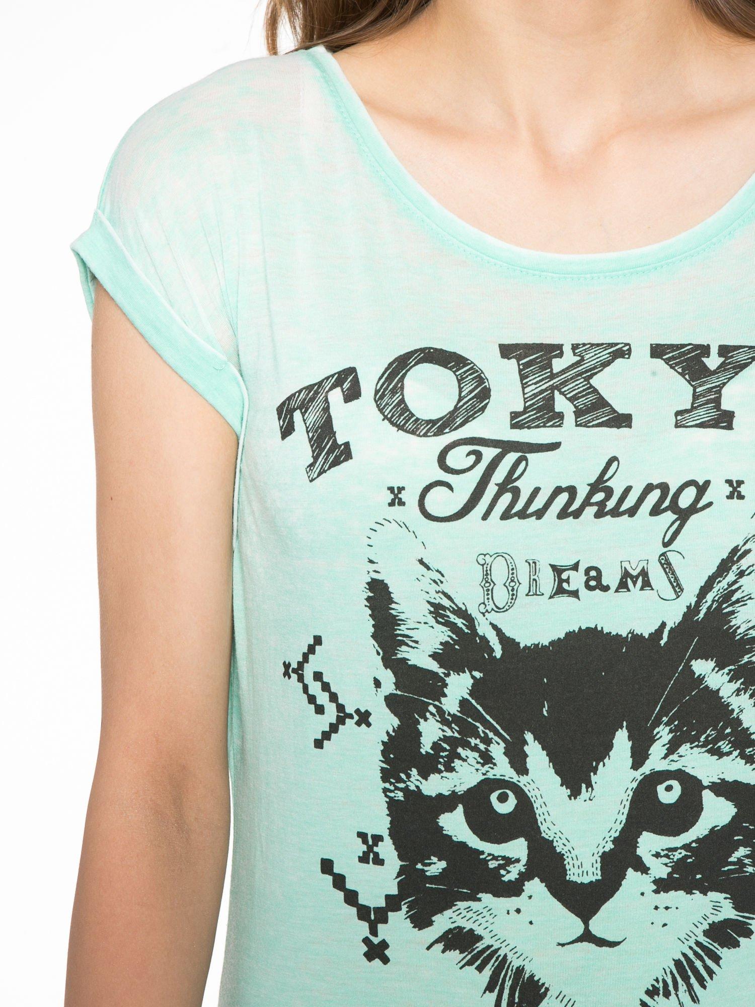 Zielony t-shirt z kotem i napisem TOKYO CITY                                  zdj.                                  5