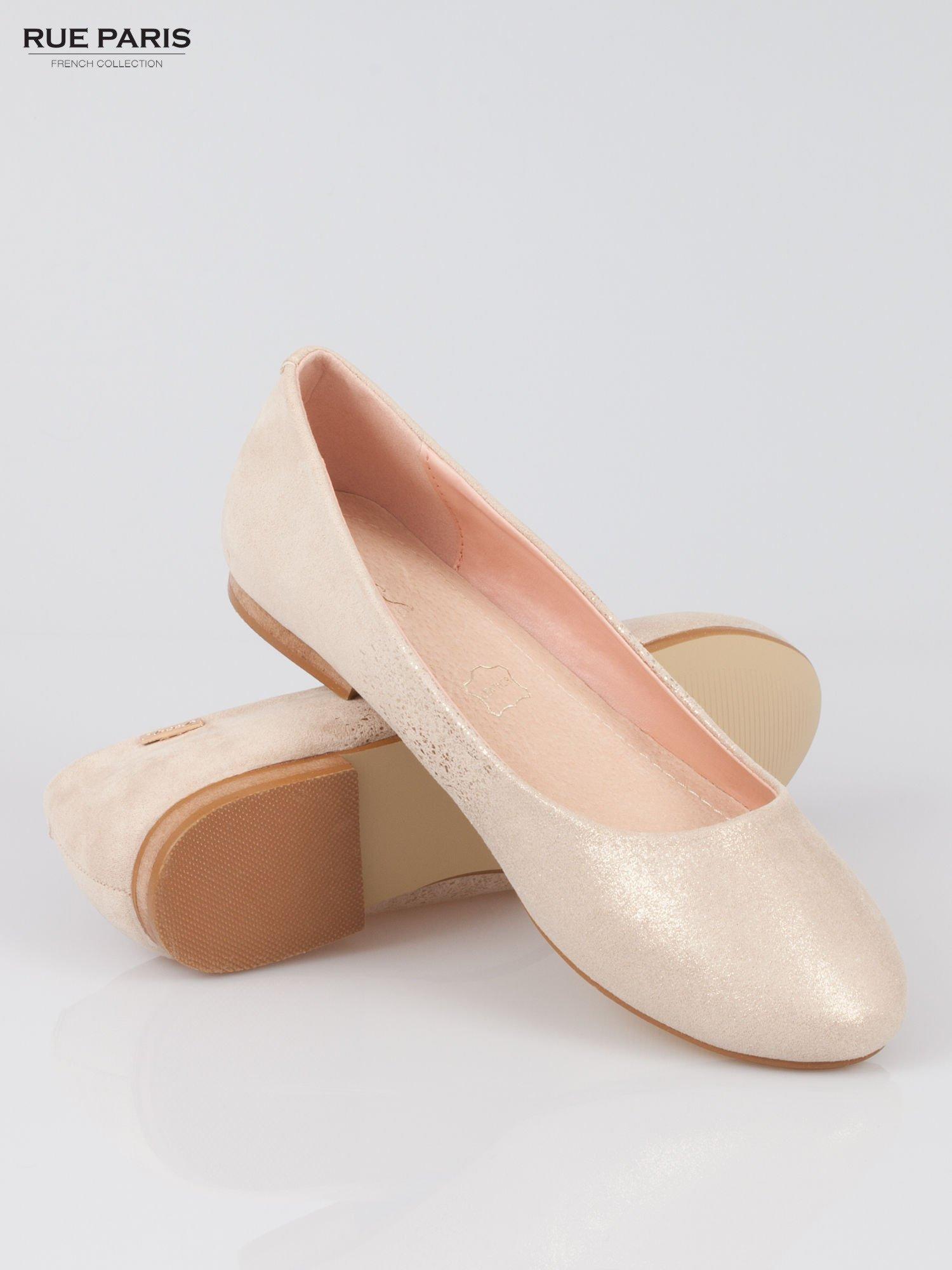 Złote baleriny dual leather Gloss z lekkim metalizowaniem                                  zdj.                                  4