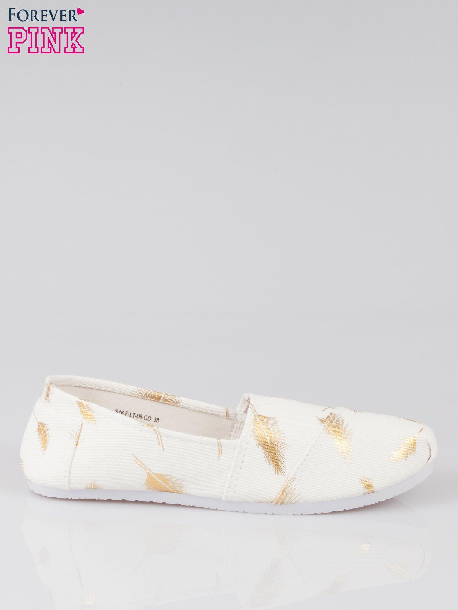 Złote buty slipon w piórka                                  zdj.                                  1