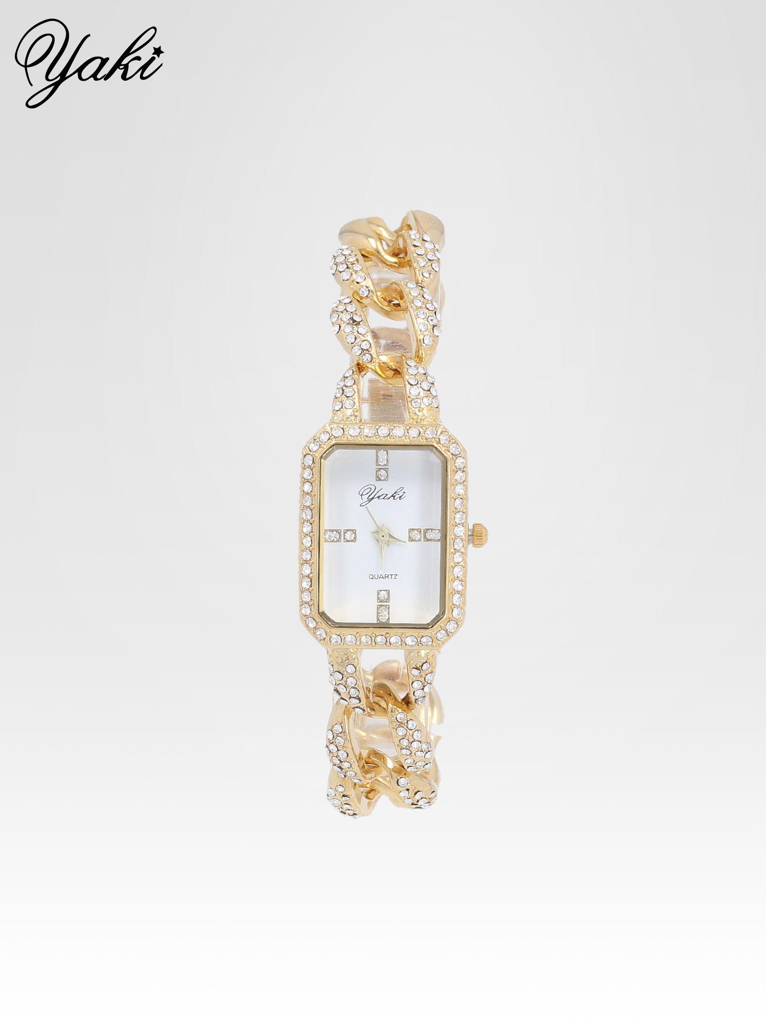 Złoty biżuteryjny zegarek damski na bransolecie z cyrkoniami                                  zdj.                                  1