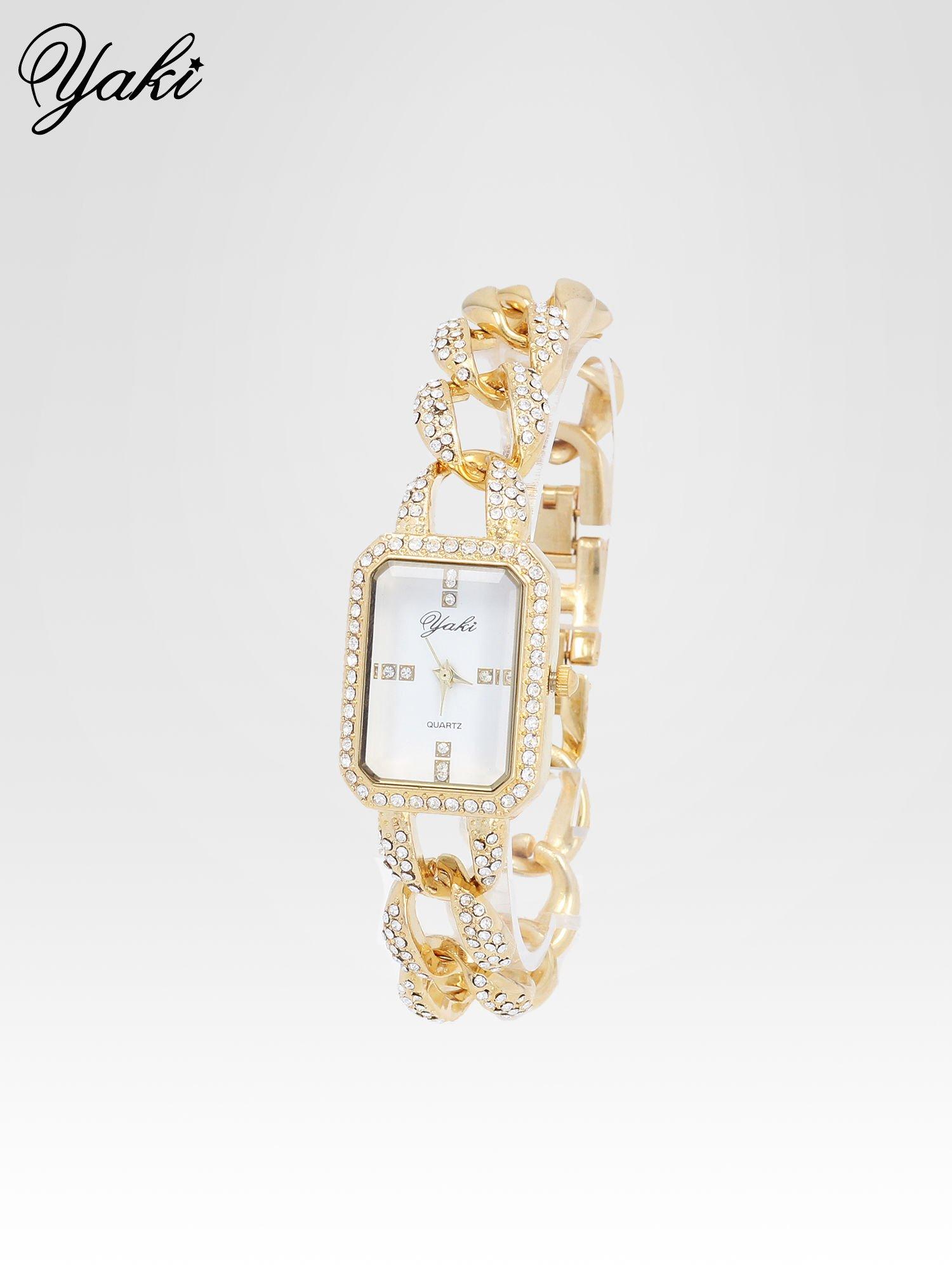 Złoty biżuteryjny zegarek damski na bransolecie z cyrkoniami                                  zdj.                                  2