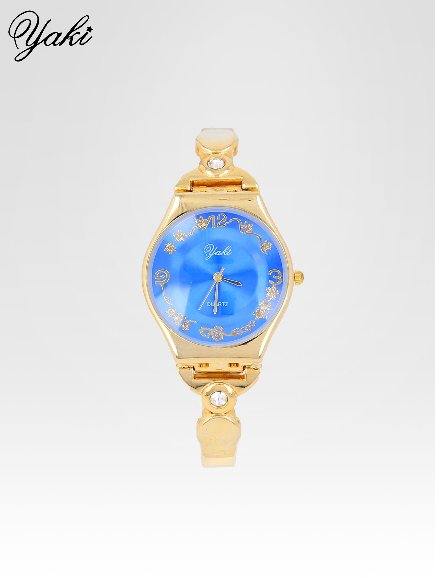 Złoty biżuteryjny zegarek damski z niebieską tarczą                                  zdj.                                  1