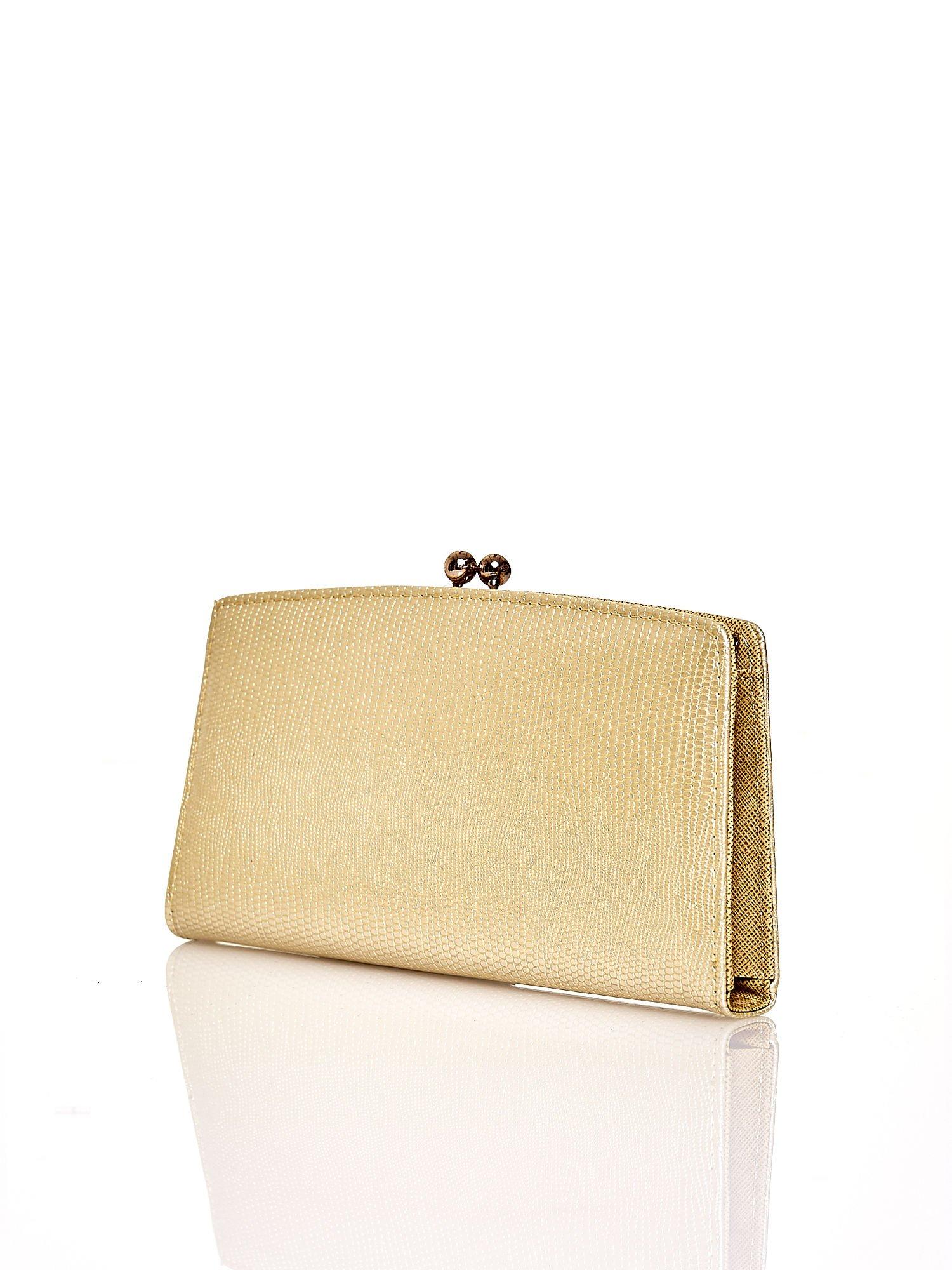 Złoty portfel z motywem skóry węża z biglem                                  zdj.                                  2