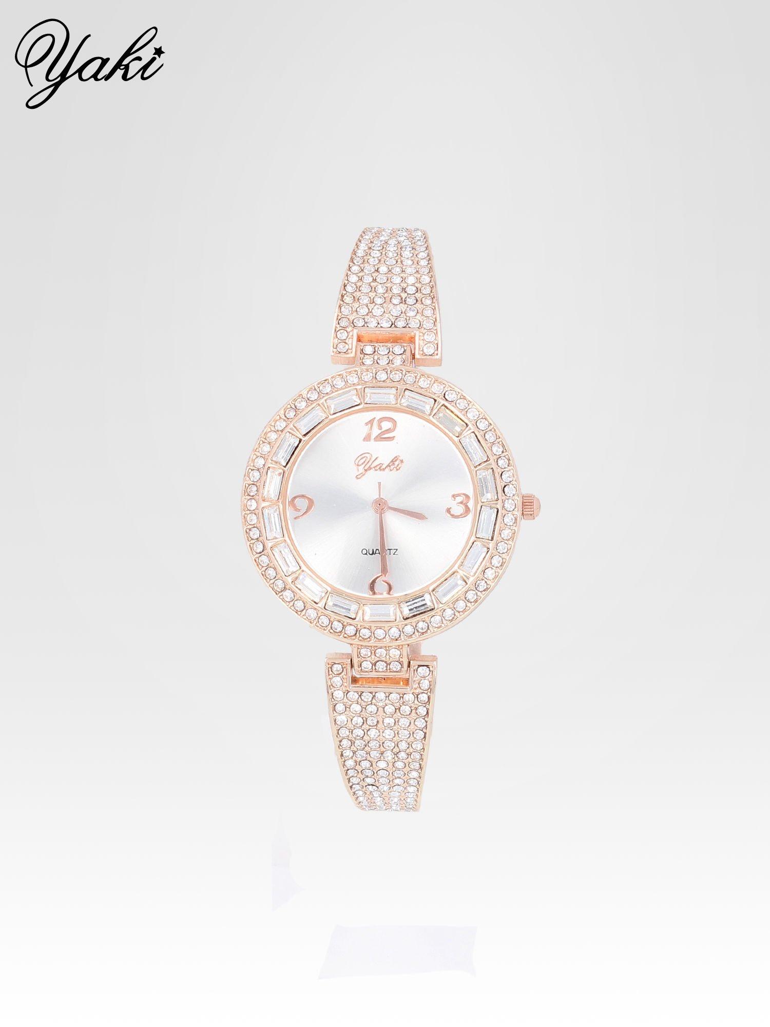 Złoty zegarek biżuteryjny z biała tarczą i cyrkoniami                                  zdj.                                  1