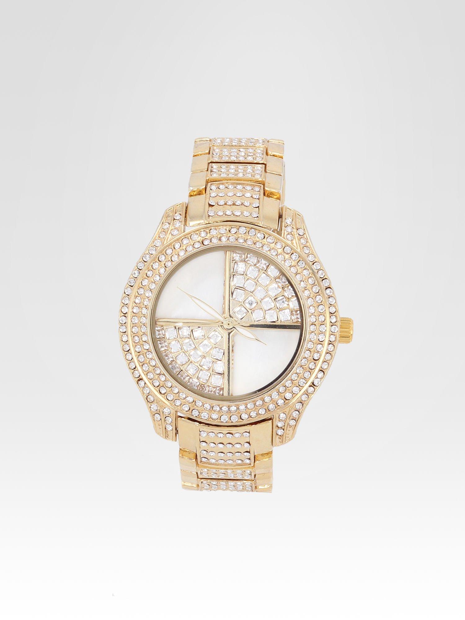 Złoty zegarek damski na bransolecie wysadzany cyrkoniami                                  zdj.                                  1