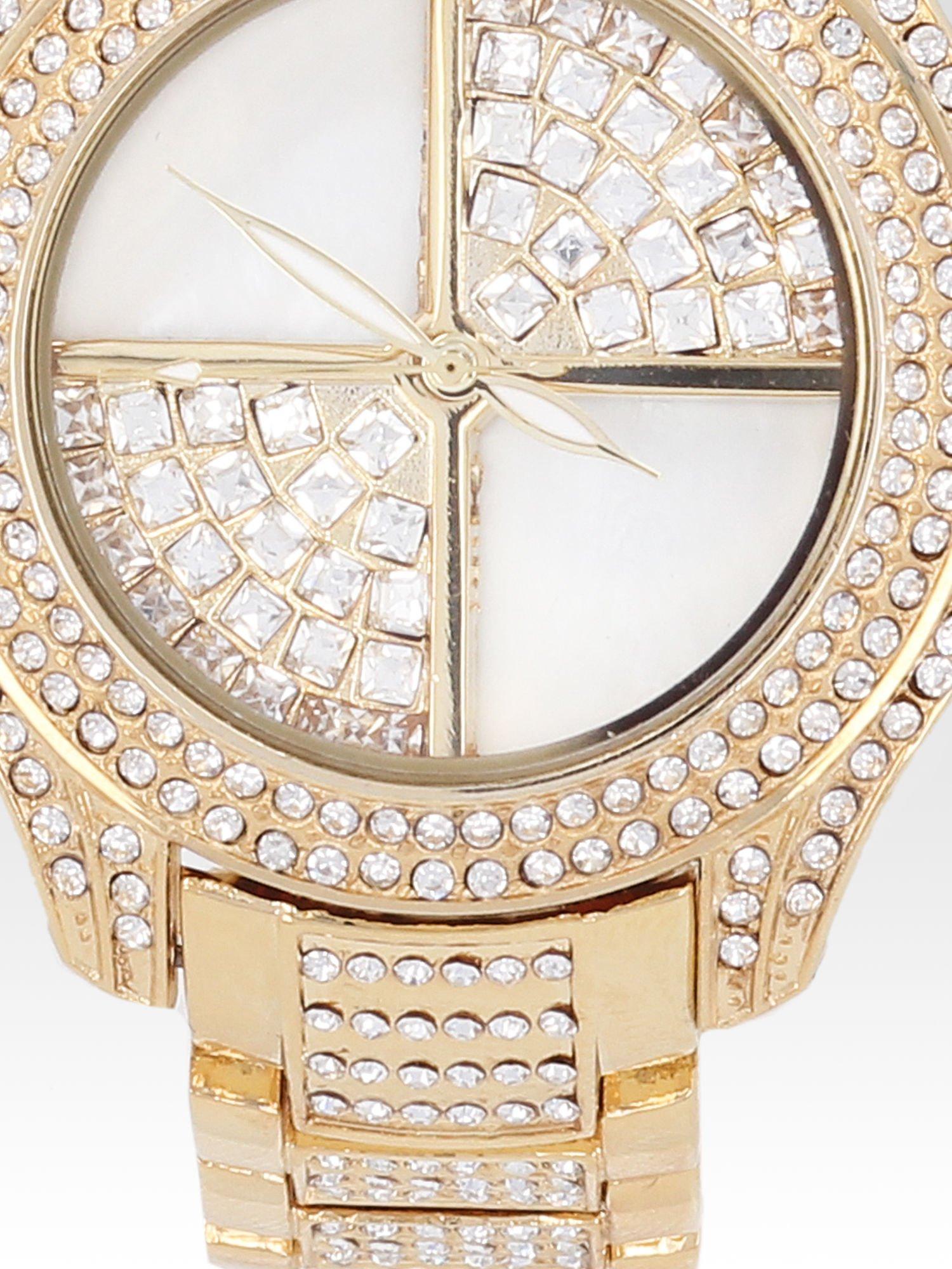 Złoty zegarek damski na bransolecie wysadzany cyrkoniami                                  zdj.                                  5