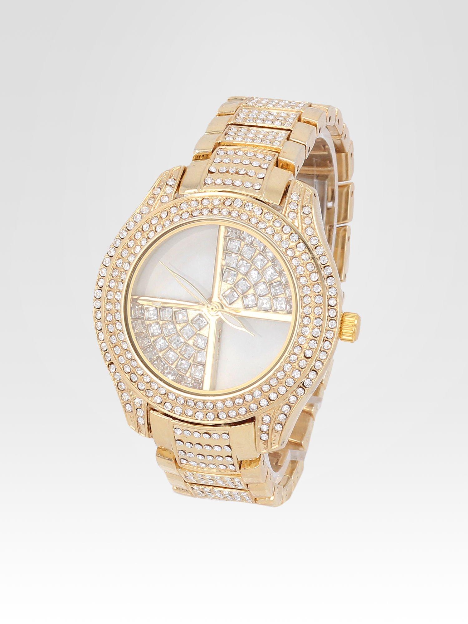 Złoty zegarek damski na bransolecie wysadzany cyrkoniami                                  zdj.                                  2