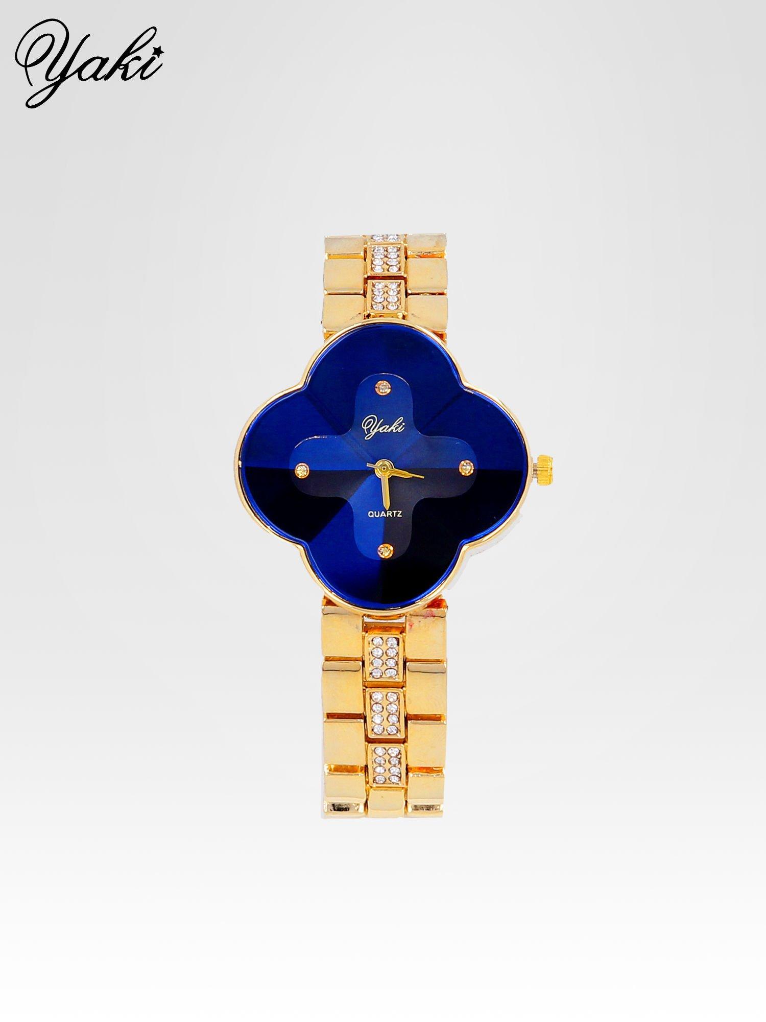 Złoty zegarek damski na bransolecie z niebieską tarczą koniczyną                                  zdj.                                  1