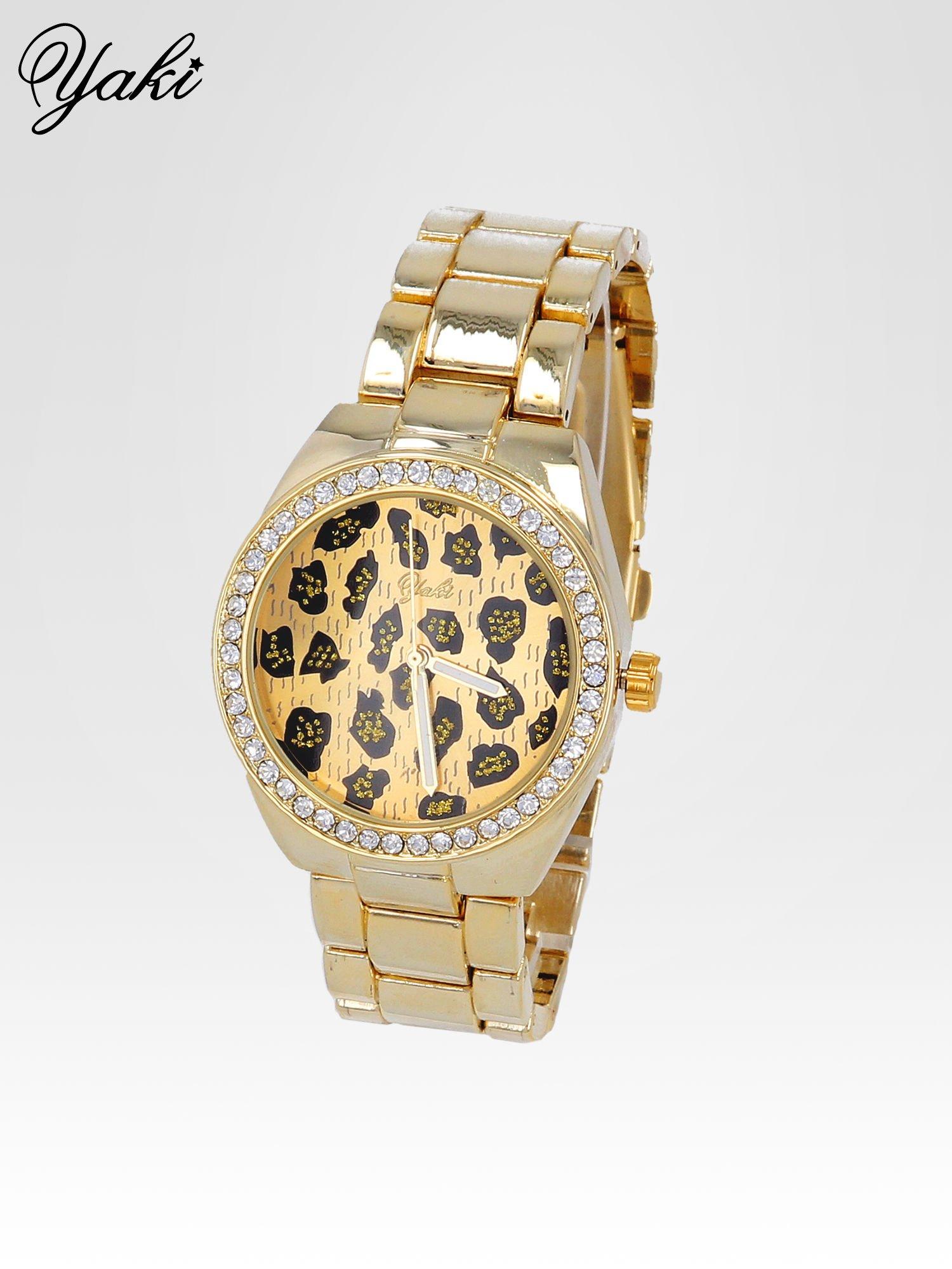 Złoty zegarek damski na bransolecie z panterkową tarczą                                  zdj.                                  2