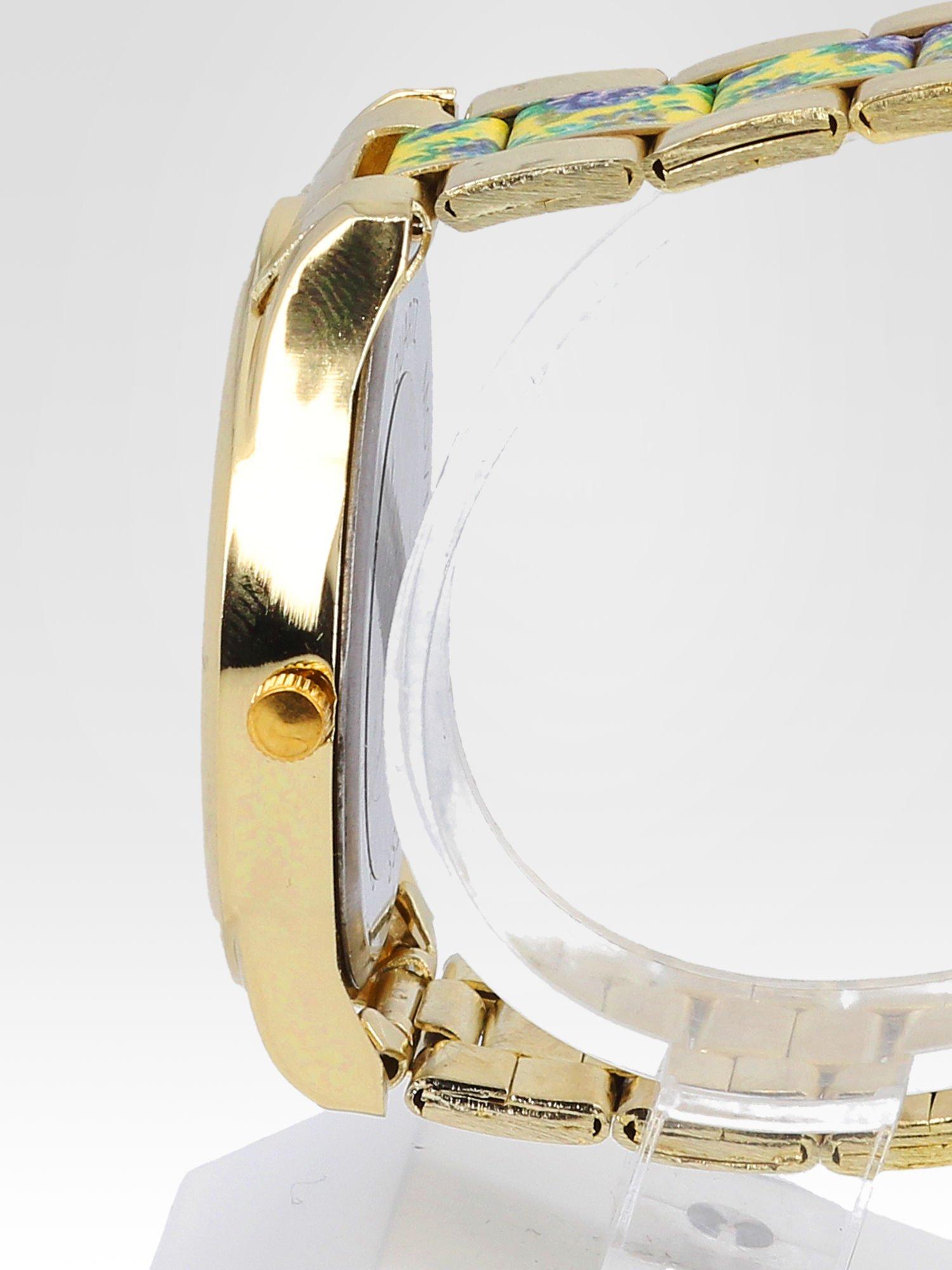 Złoty zegarek damski na bransolecie z żółtym motywem kwiatowym                                  zdj.                                  3