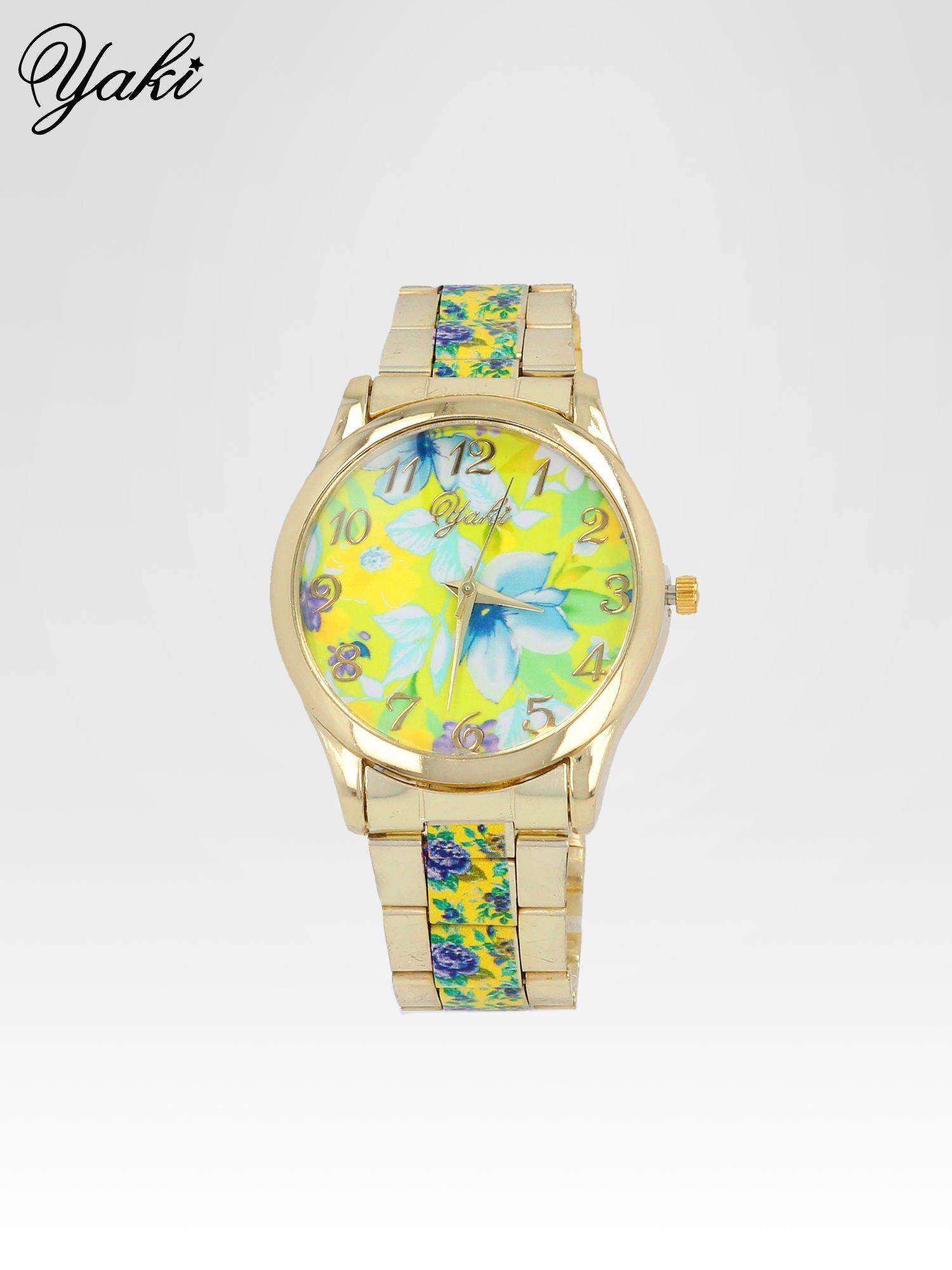 Złoty zegarek damski na bransolecie z żółtym motywem kwiatowym                                  zdj.                                  1