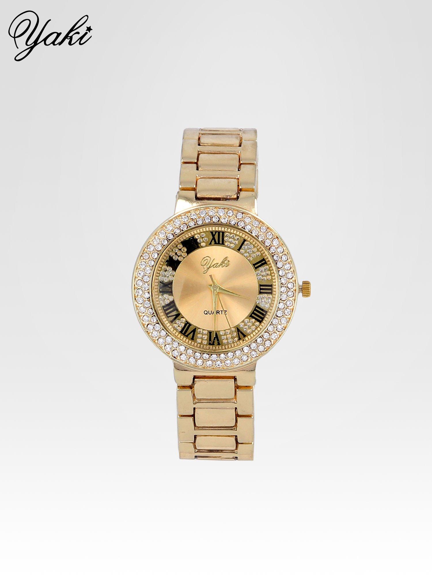 Złoty zegarek damski z bogato zdobioną tarczą cyrkoniami                                  zdj.                                  1
