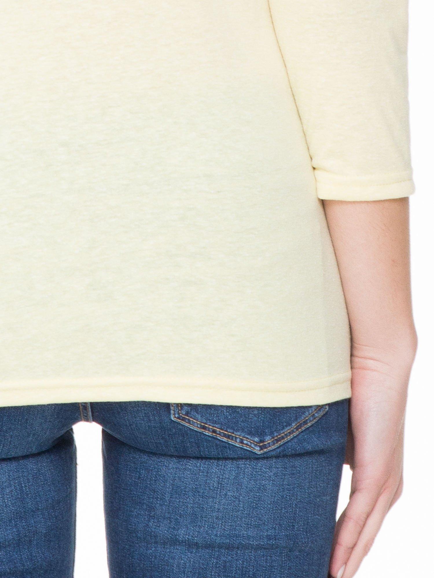 Żółta basicowa gładka bluzka z rękawem 7/8                                  zdj.                                  6