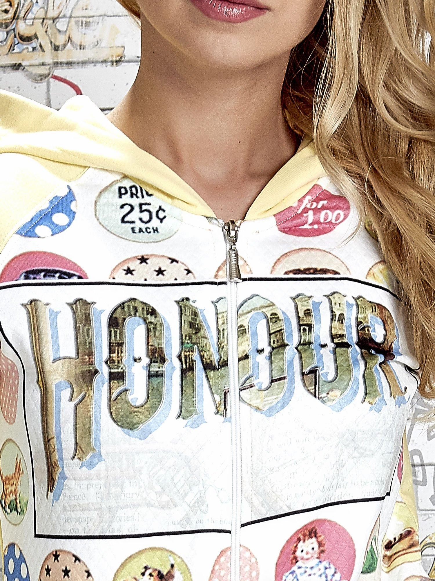Żółta bluza z kapturem i napisem HONOUR                                  zdj.                                  6