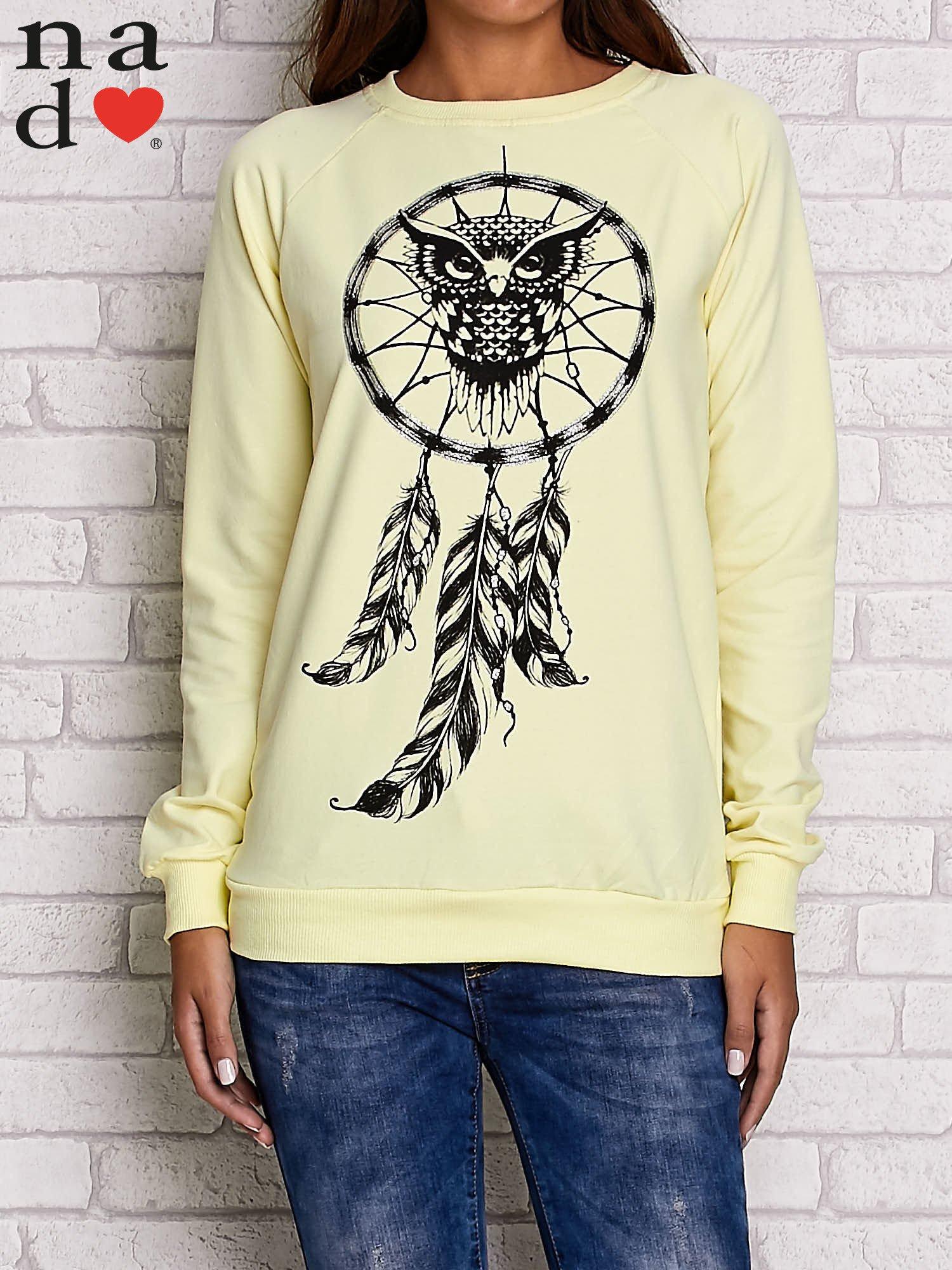 Żółta bluza z motywem sowy i łapacza snów                                  zdj.                                  1