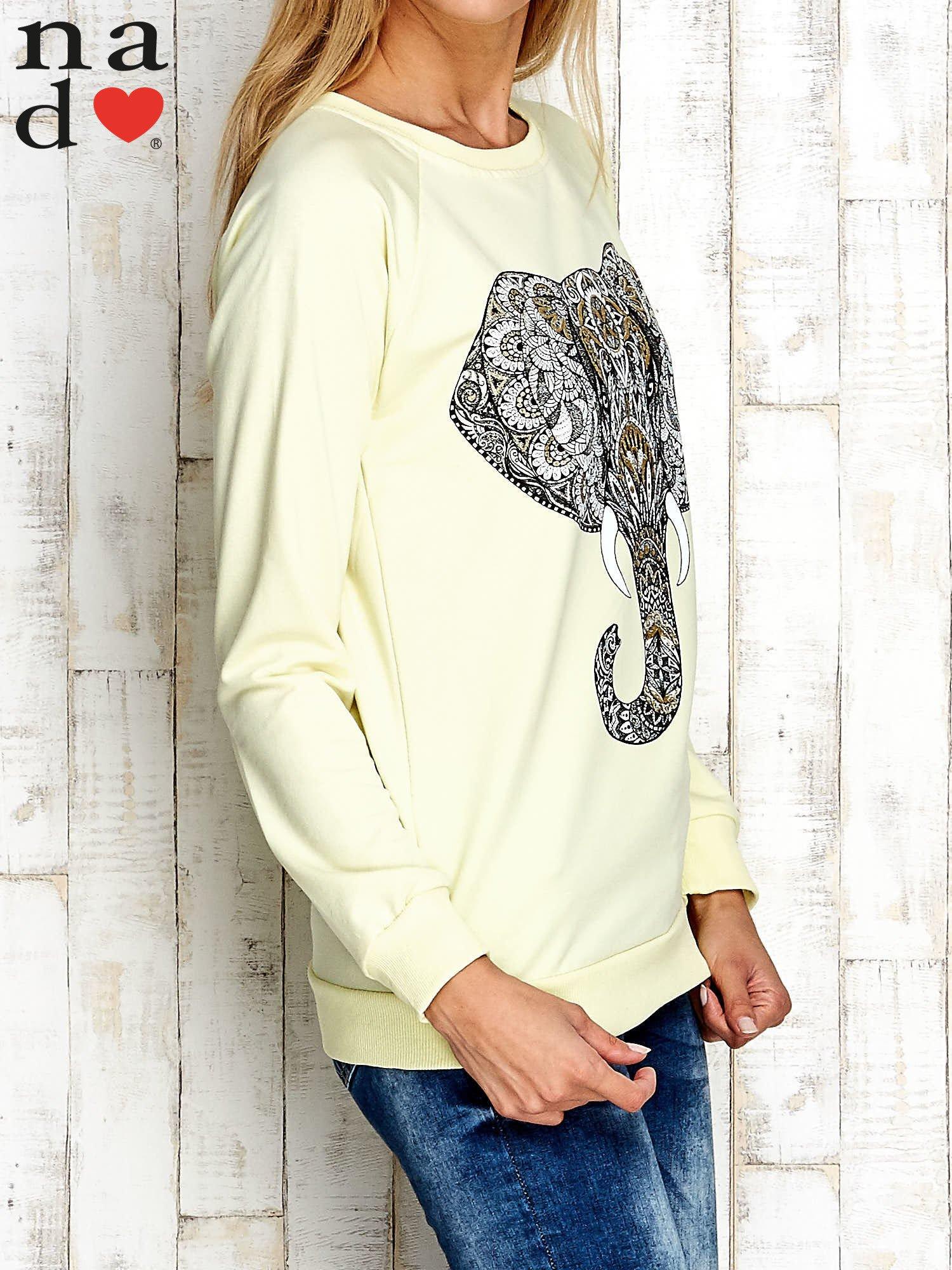 Żółta bluza z nadrukiem słonia                                  zdj.                                  3
