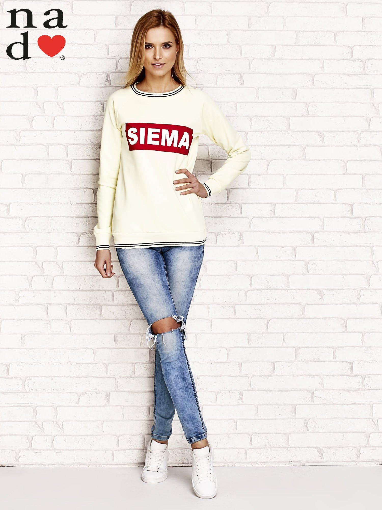 Żółta bluza z napisem SIEMA                                  zdj.                                  4
