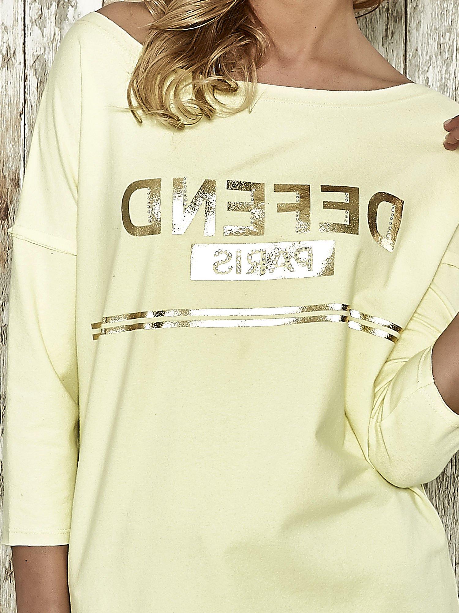 Żółta bluza ze złotym napisem i suwakiem                                  zdj.                                  4