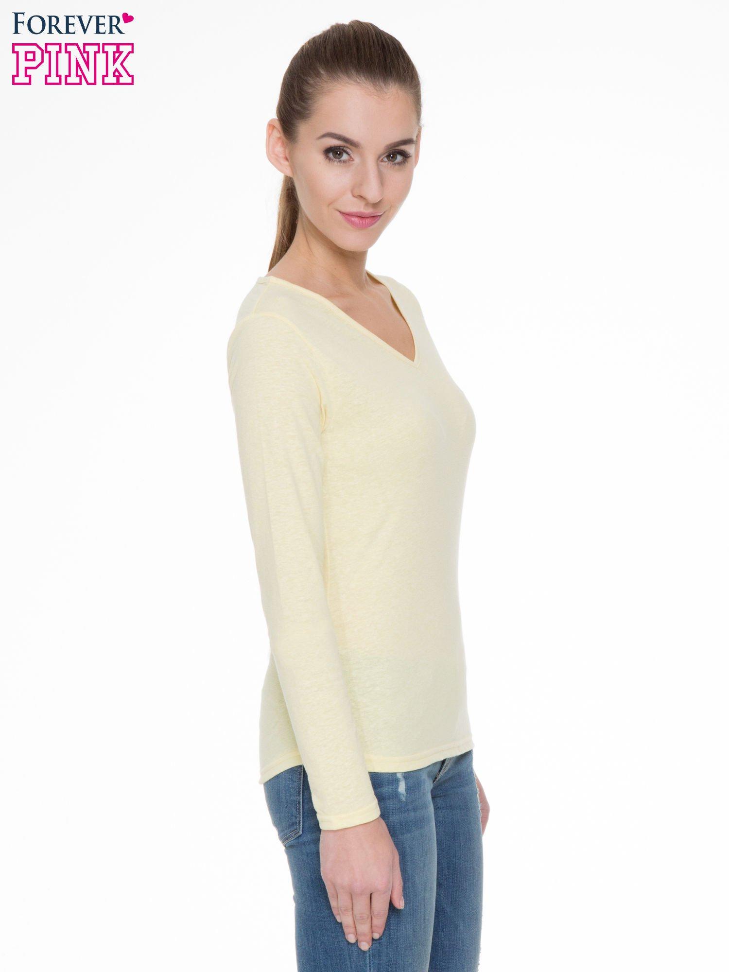Żółta bluzka z długim rękawem z bawełny                                  zdj.                                  3