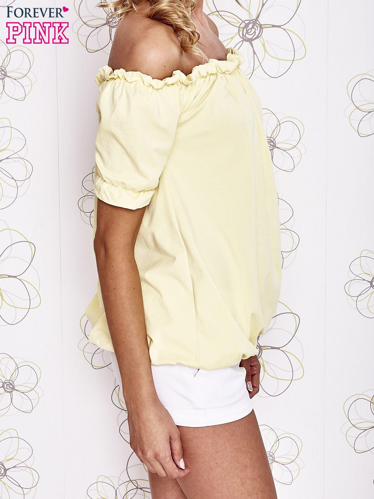 Żółta bluzka z hiszpańskim dekoltem                                   zdj.                                  3