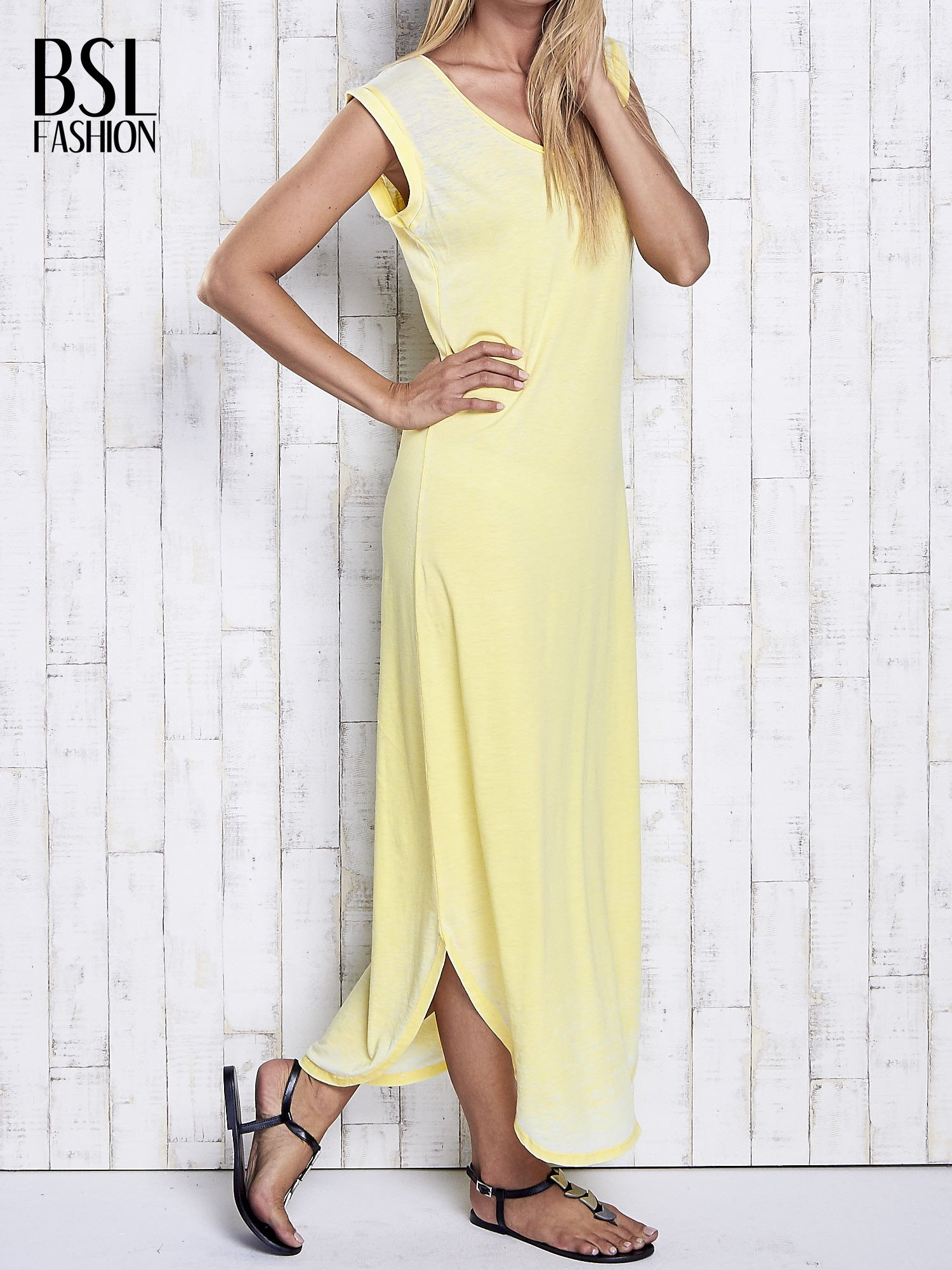 Żółta długa sukienka acid wash                                   zdj.                                  3