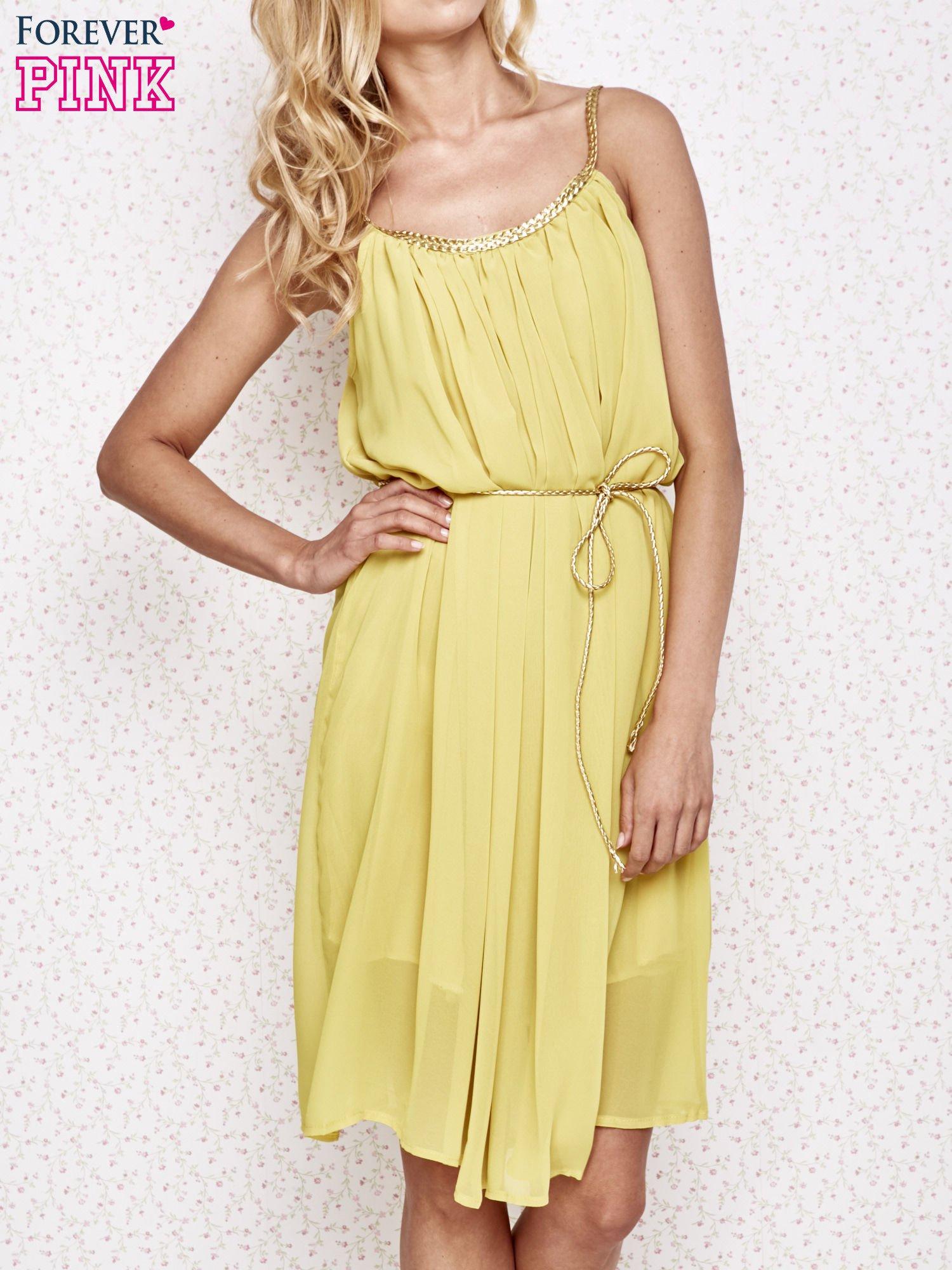 Żółta grecka sukienka ze złotym paskiem                                  zdj.                                  1