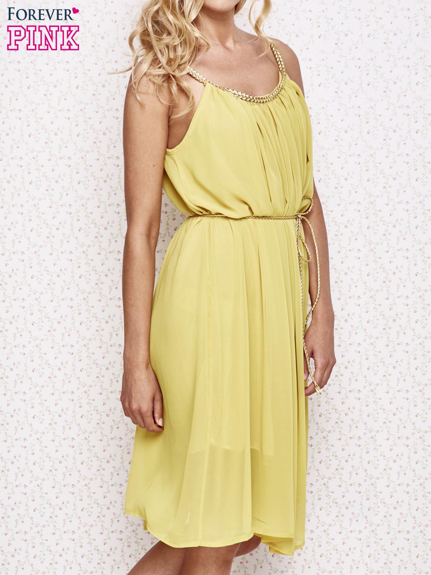 Żółta grecka sukienka ze złotym paskiem                                  zdj.                                  3