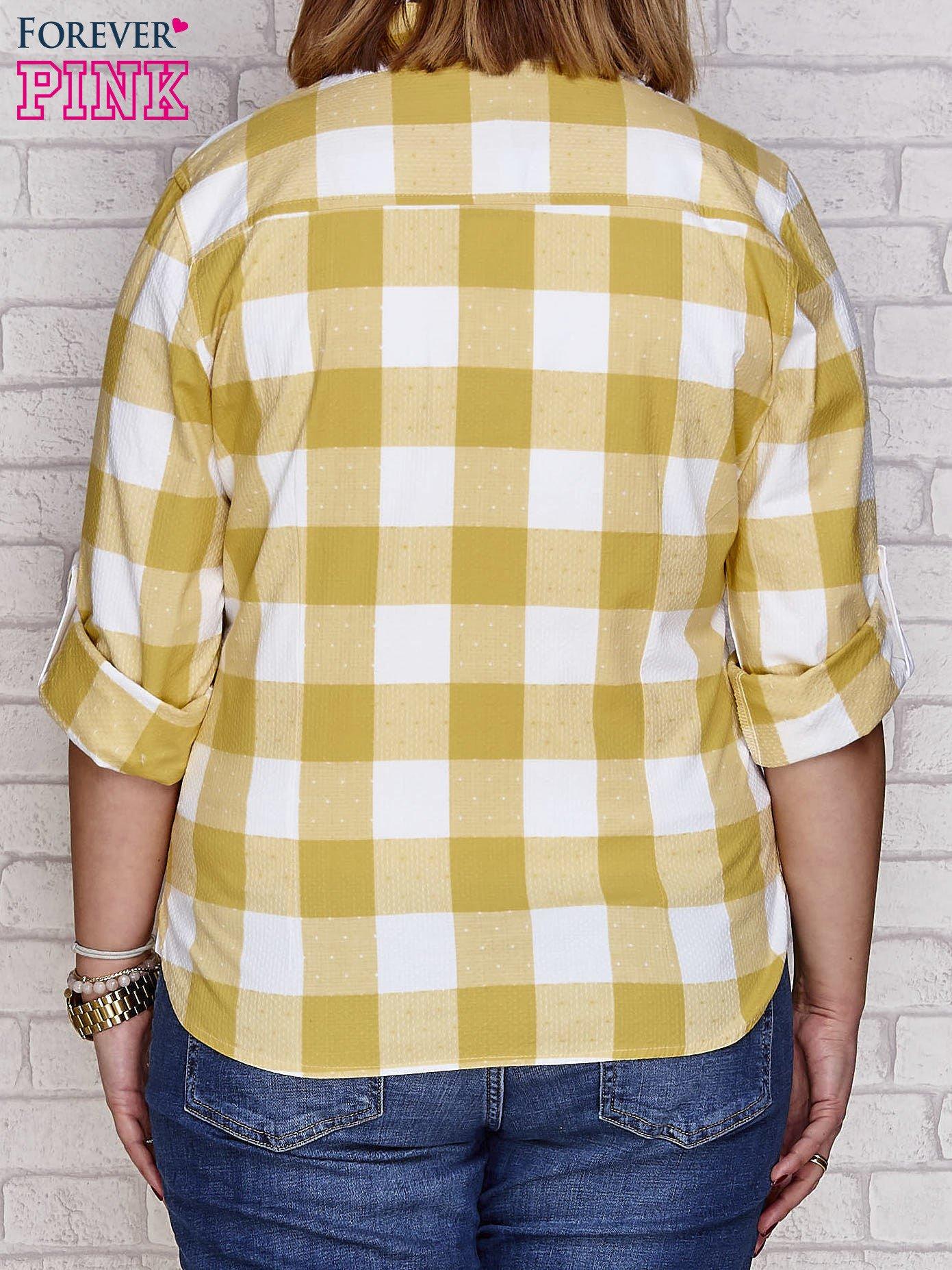 Żółta koszula motyw kratki PLUS SIZE