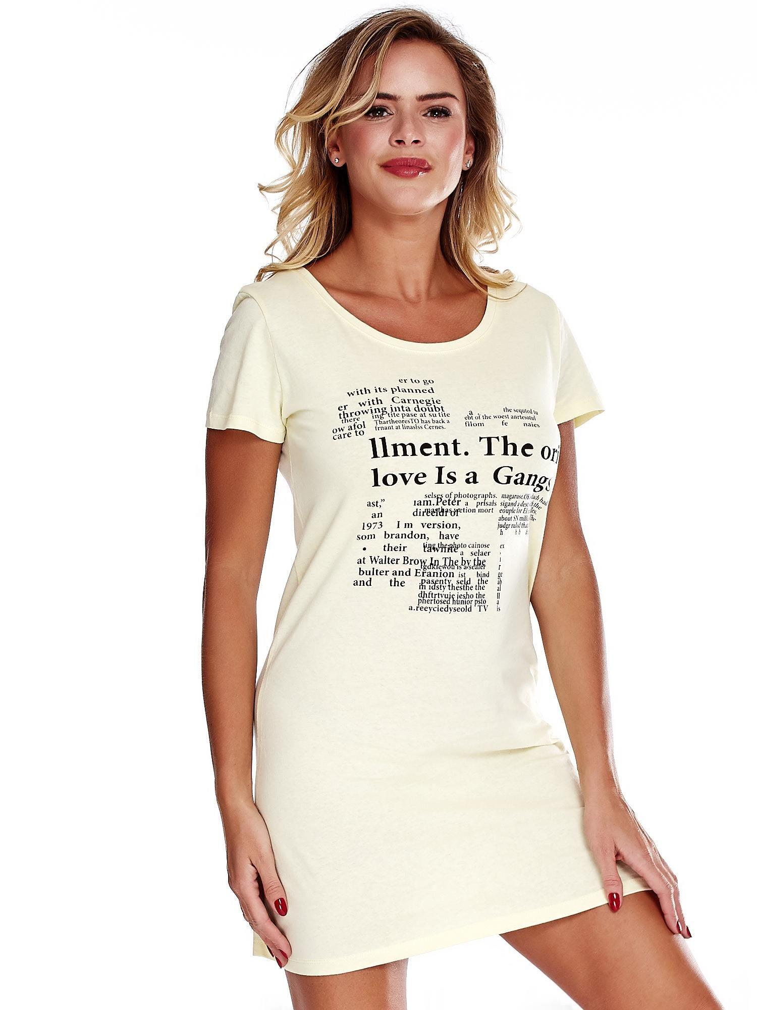 3665dafe3b Żółta koszula nocna z nadrukiem newspaper - Bielizna piżama - sklep ...