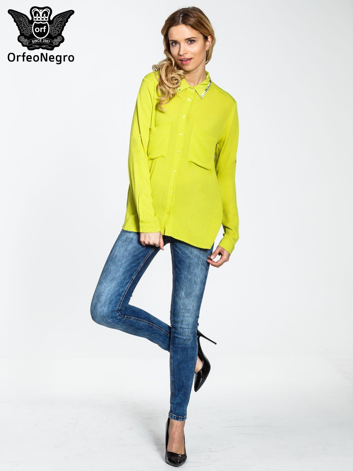 Żółta koszula z biżuteryjnym kołnierzykiem i kieszonkami                                  zdj.                                  2