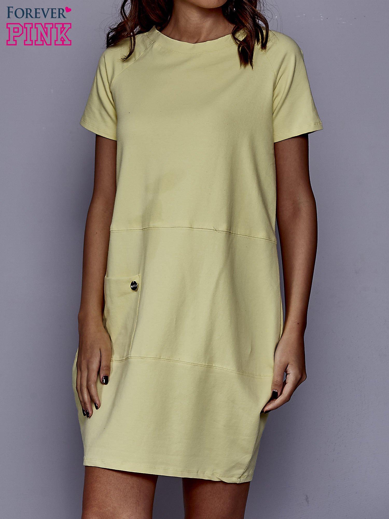 d08399217f Żółta sukienka dresowa z kieszenią z boku - Sukienka na co dzień - sklep  eButik.pl