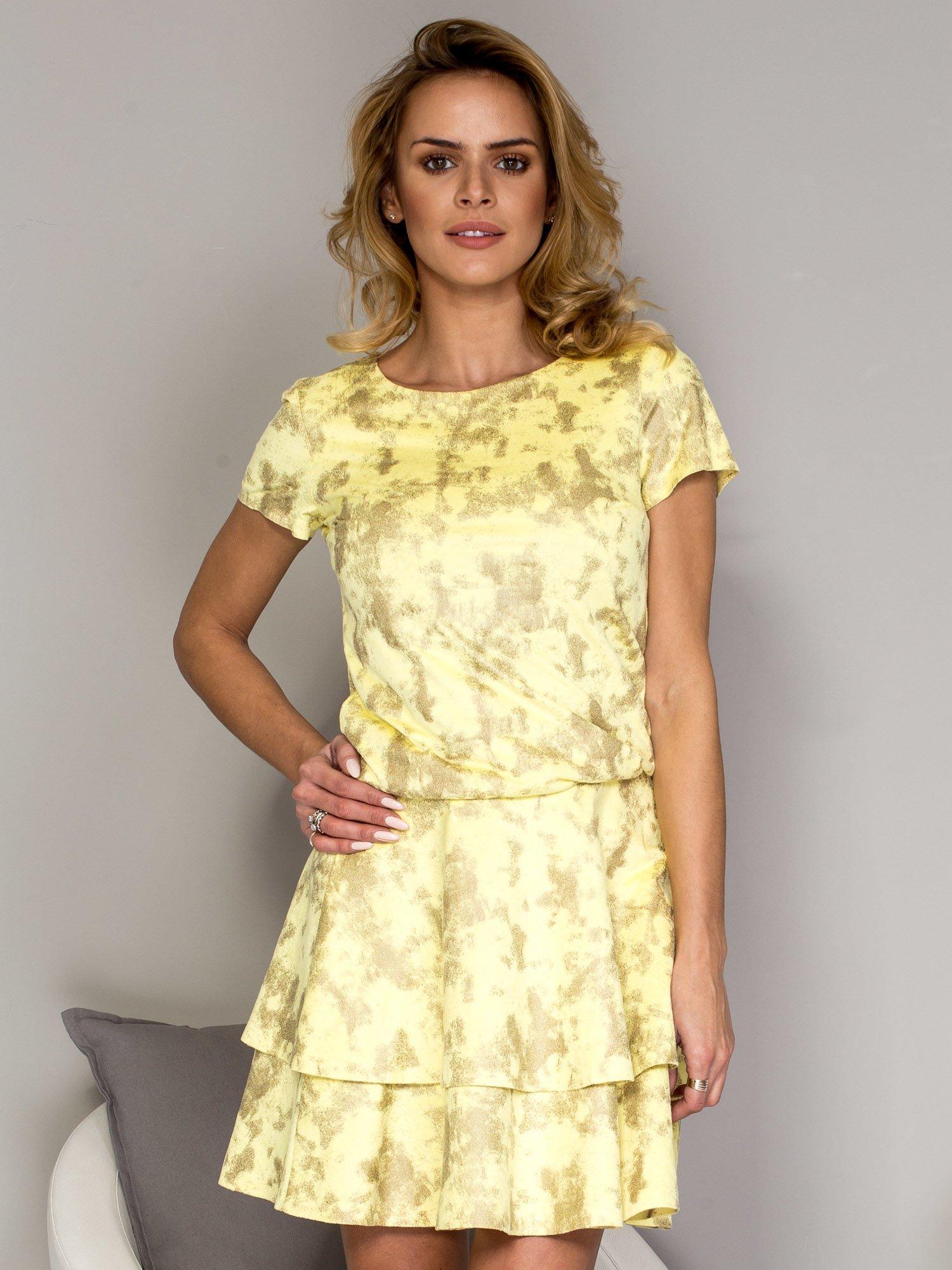 fde21dfe46 Żółta sukienka w malarski deseń z falbanami - Sukienka koktajlowa ...