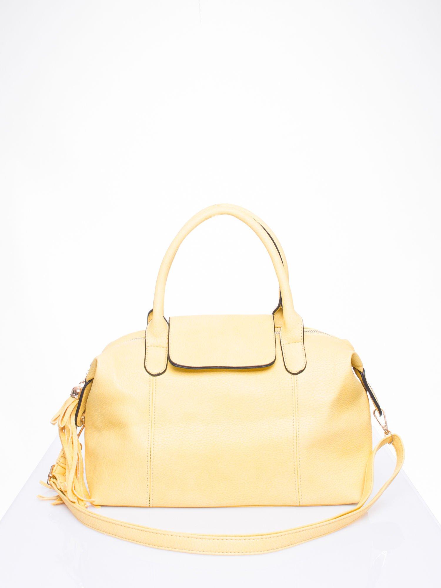 Żółta torba z klapką i odpinanym paskiem                                  zdj.                                  1