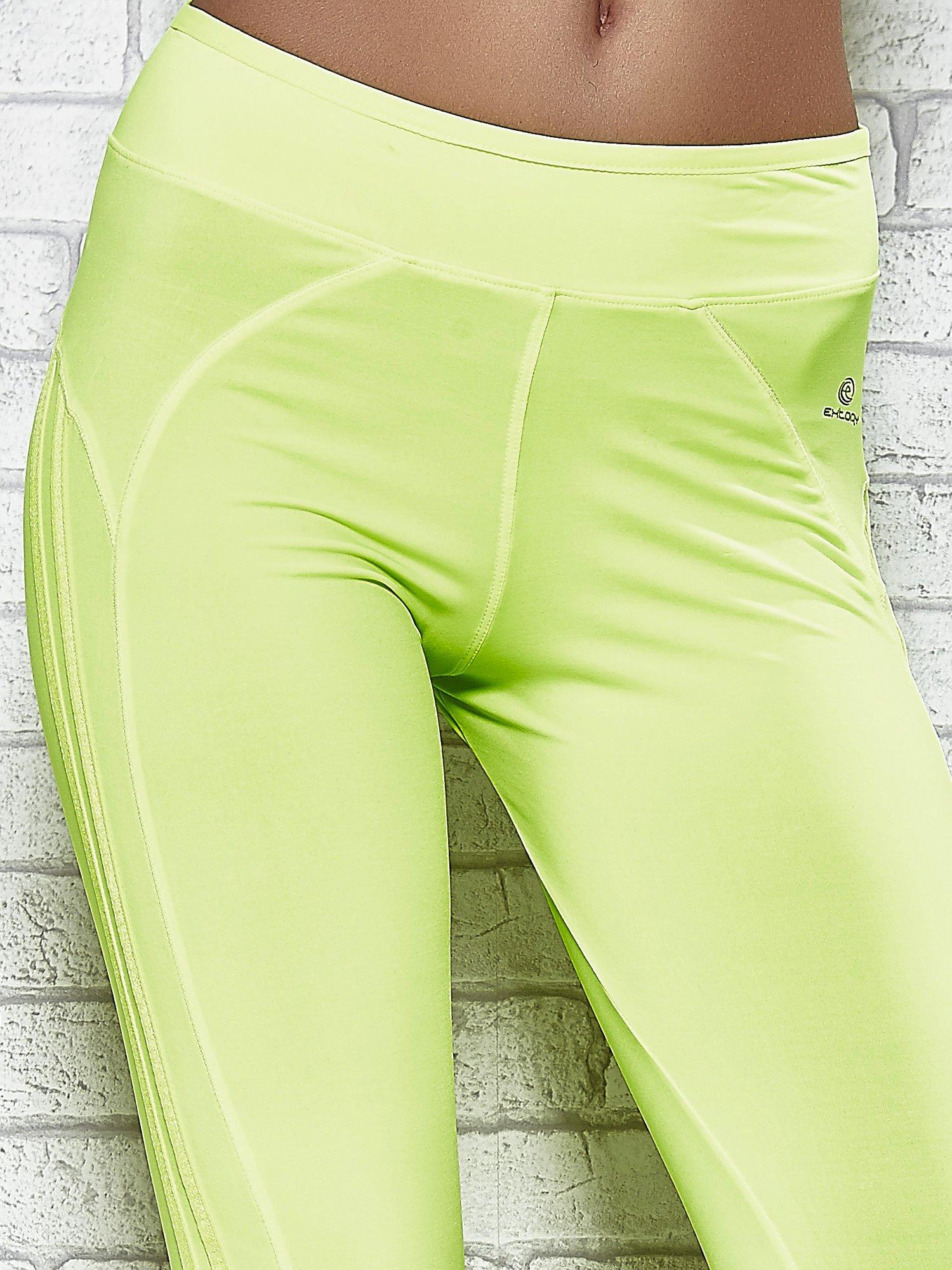 Żółte legginsy 3/4 sportowe termalne z lampasami                                  zdj.                                  4