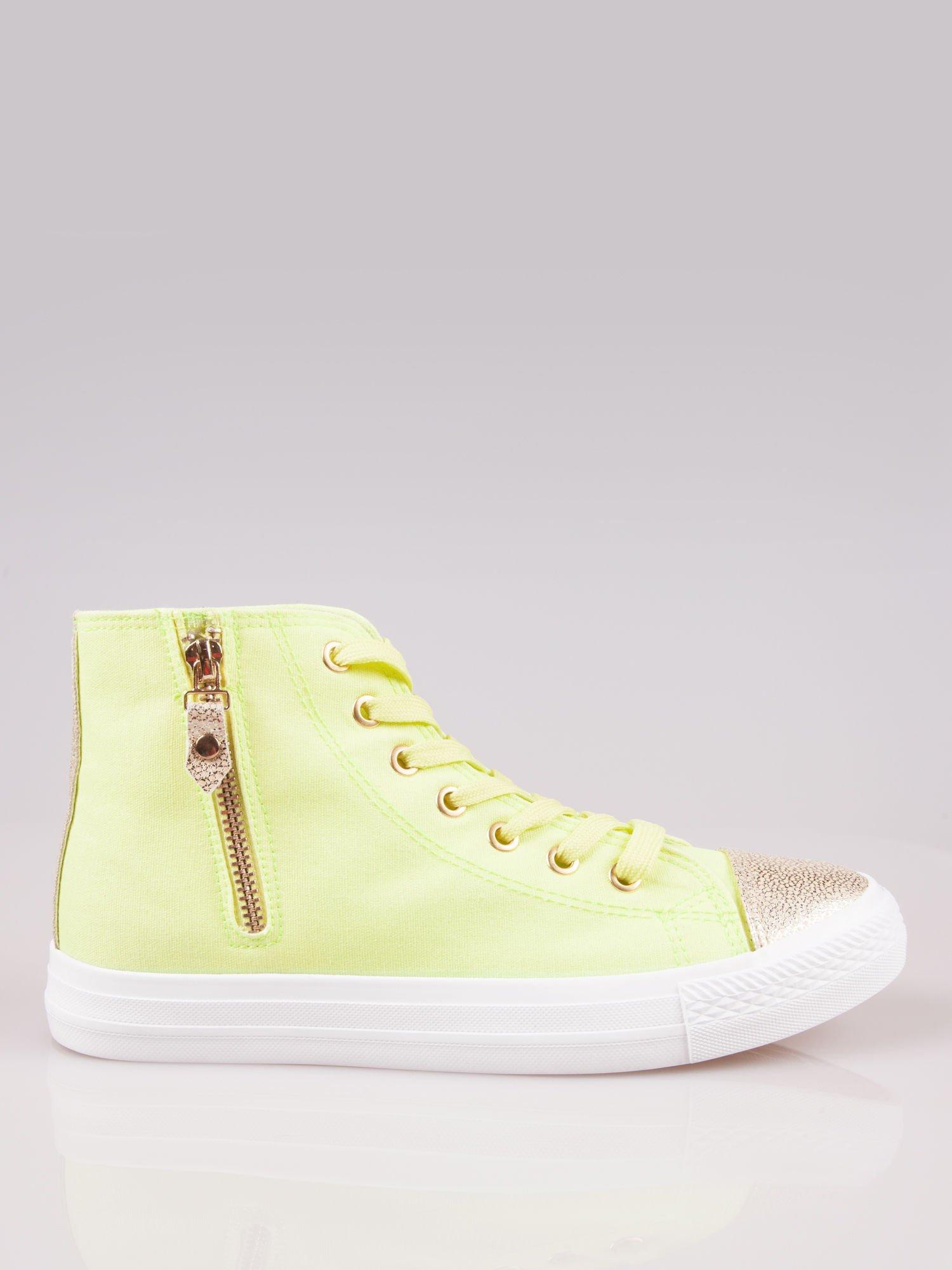 Żółte sneakersy gold cap toe Cody z suwakiem z boku                                  zdj.                                  1