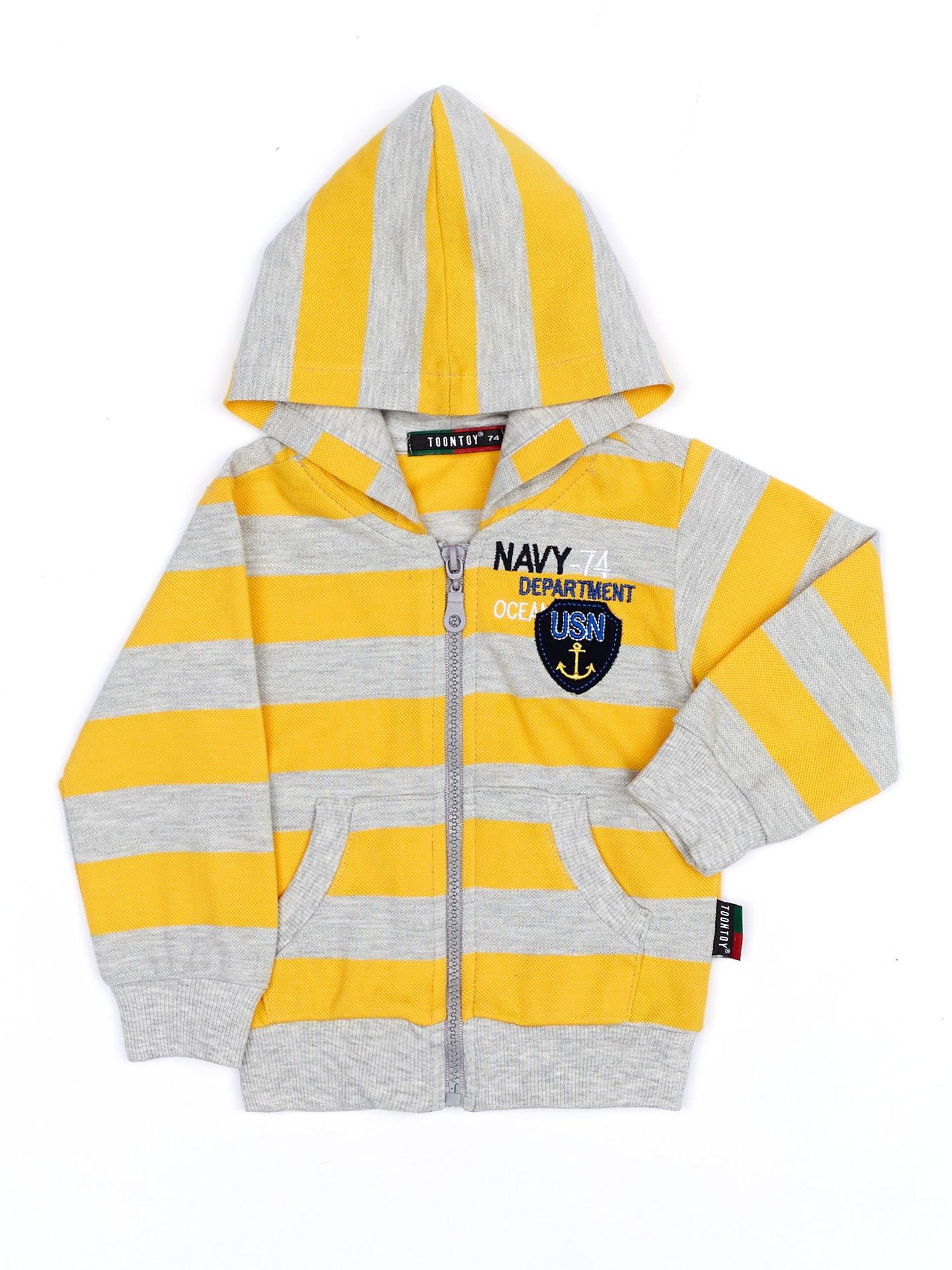 cd8611c9dc04 Żółto-szara bawełniana bluza dziecięca w paski z kapturem - Dziecko  Chłopiec - sklep eButik.pl