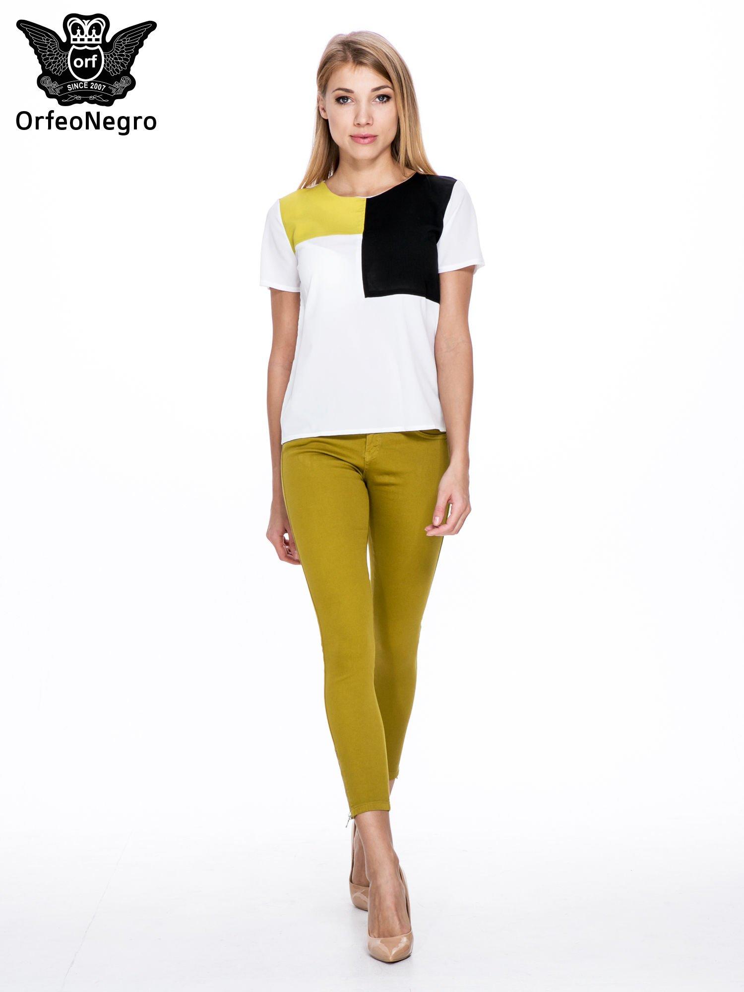 Żółtobrązowe spodnie typu skinny z elastycznego materiału                                  zdj.                                  4
