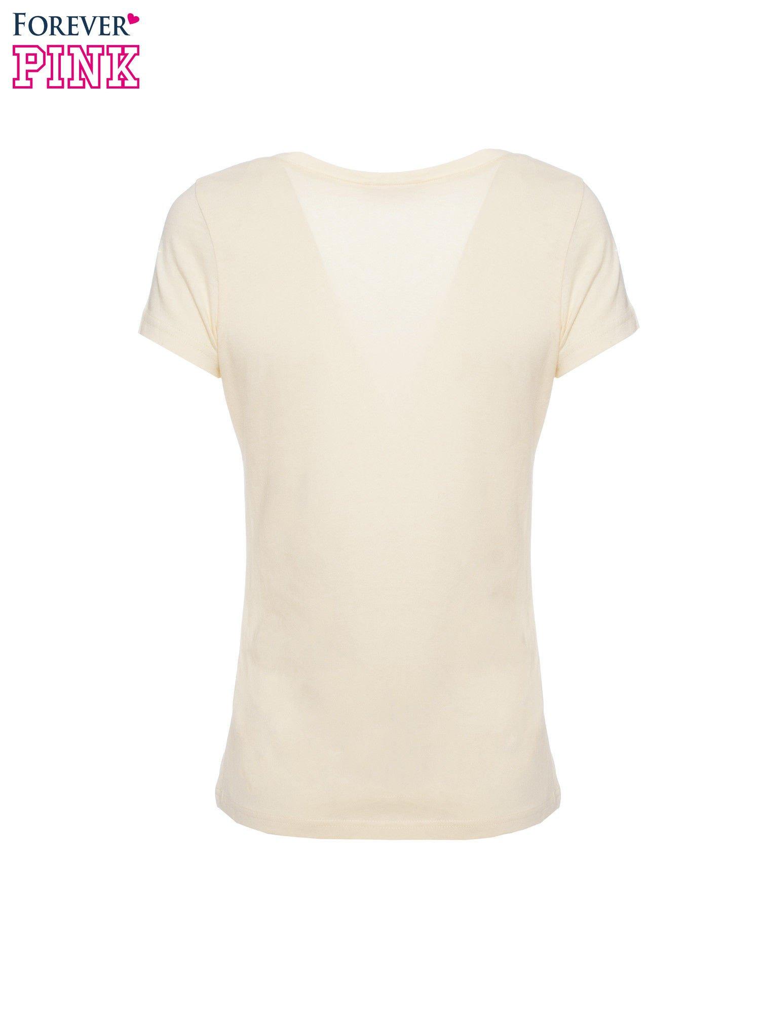 Żółty basicowy t-shirt z dekoltem w serek                                  zdj.                                  5
