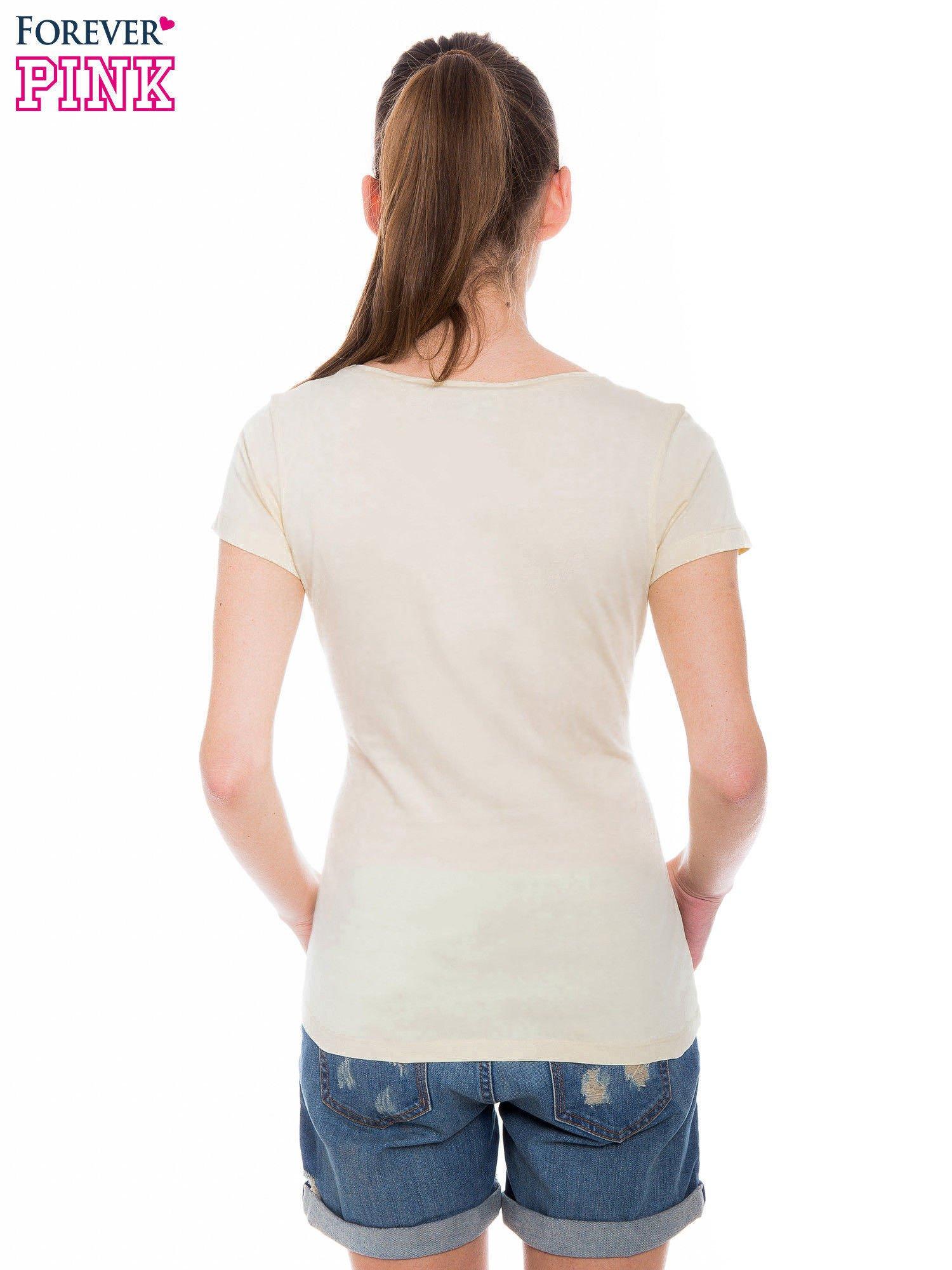 Żółty basicowy t-shirt z okrągłym dekoltem                                  zdj.                                  3